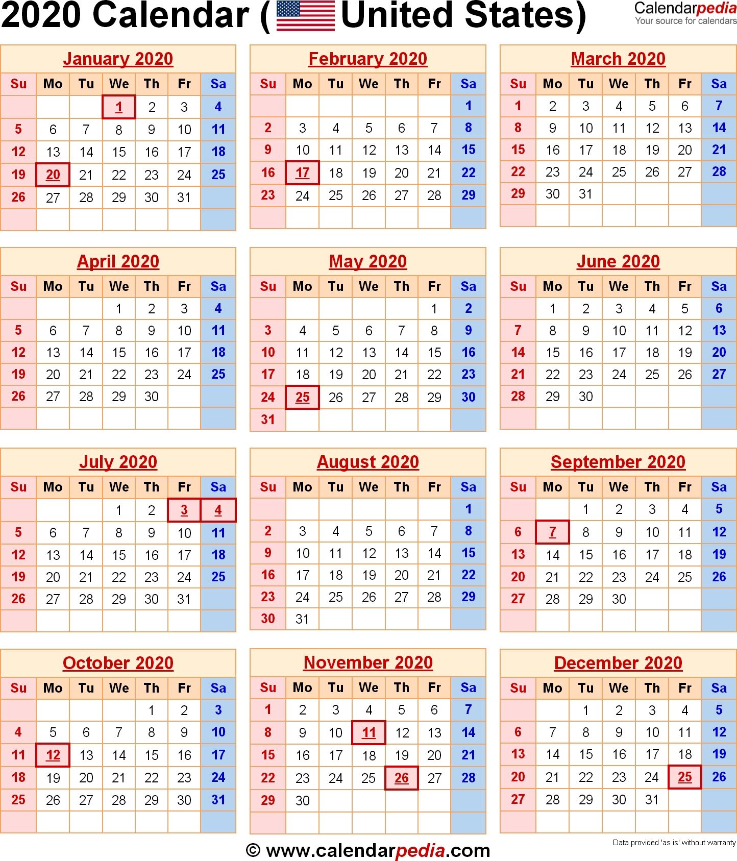 2020 Calendar With Federal Holidays-2020 Printable Calendar