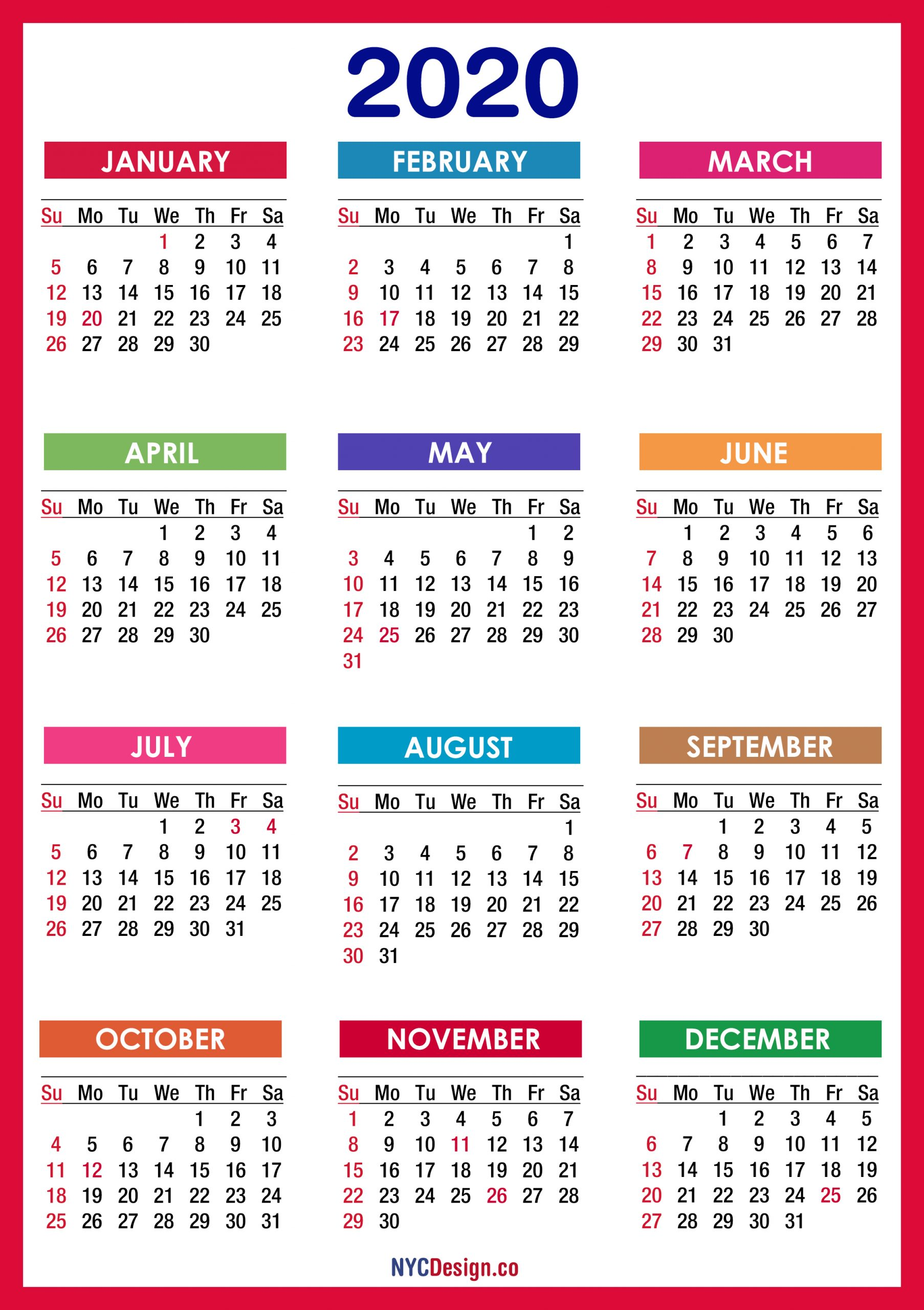 2020 Calendar With Holidays, Printable Free, Pdf, Colorful