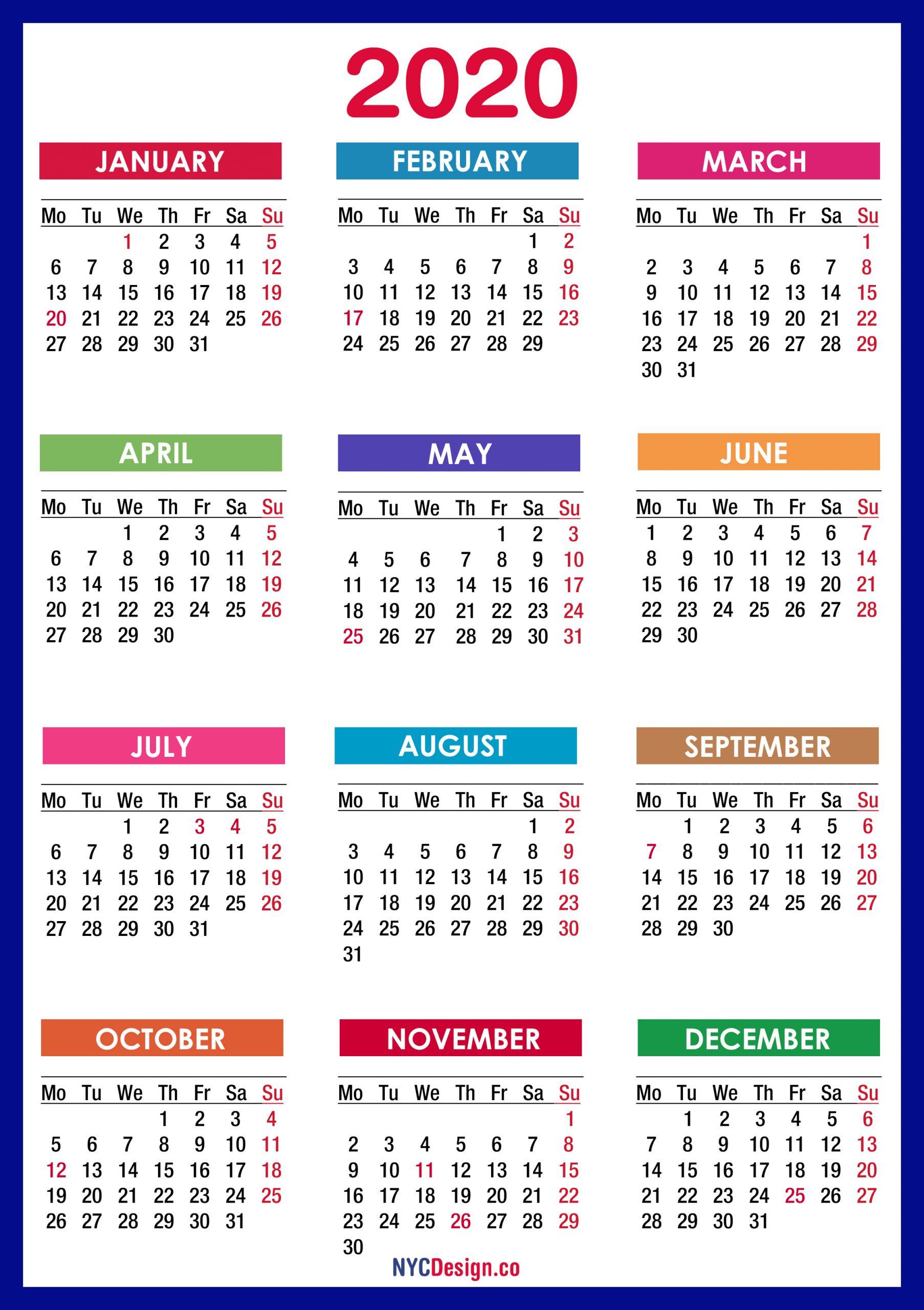 2020 Calendar With Holidays, Printable Free, Pdf, Colorful