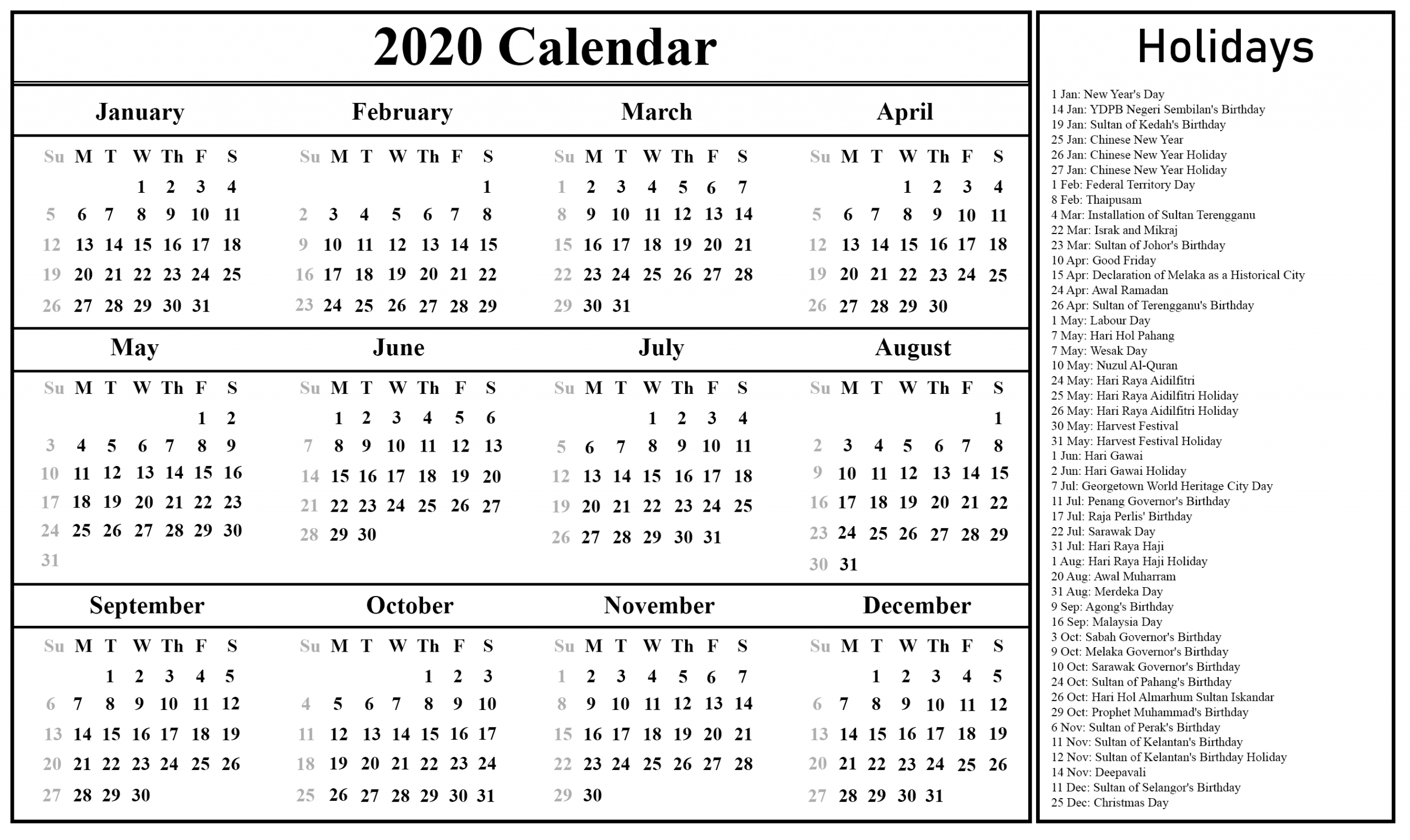 2020 Calendar With Holidays Printable - Togo.wpart.co