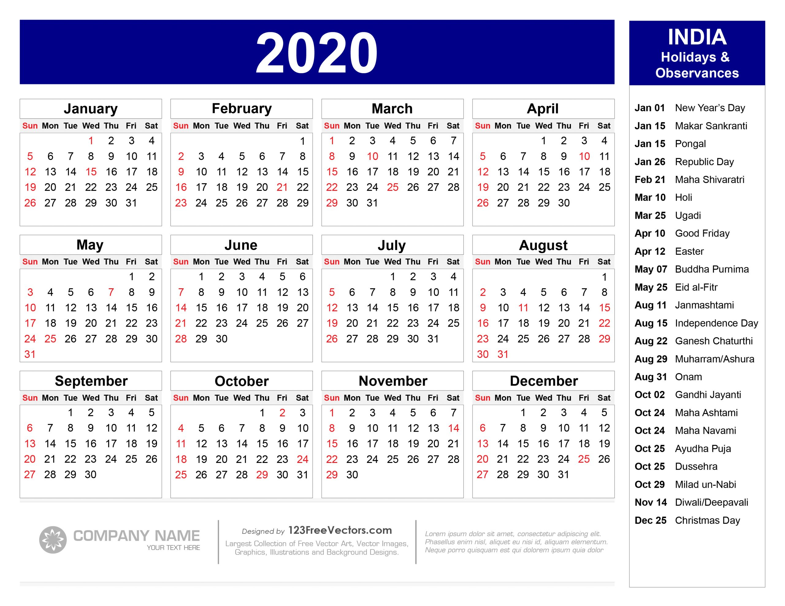 2020 Calendar With Indian Holidays Pdf