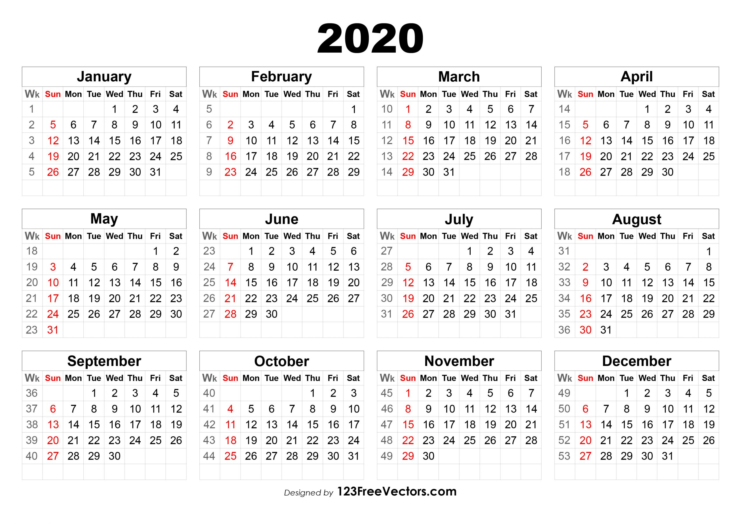 2020 Calendar With Week Numbers Printable - Togo.wpart.co
