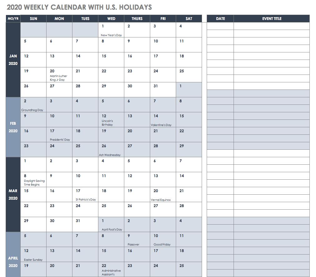 2020 Calendar Xls | Calendar Template Printable