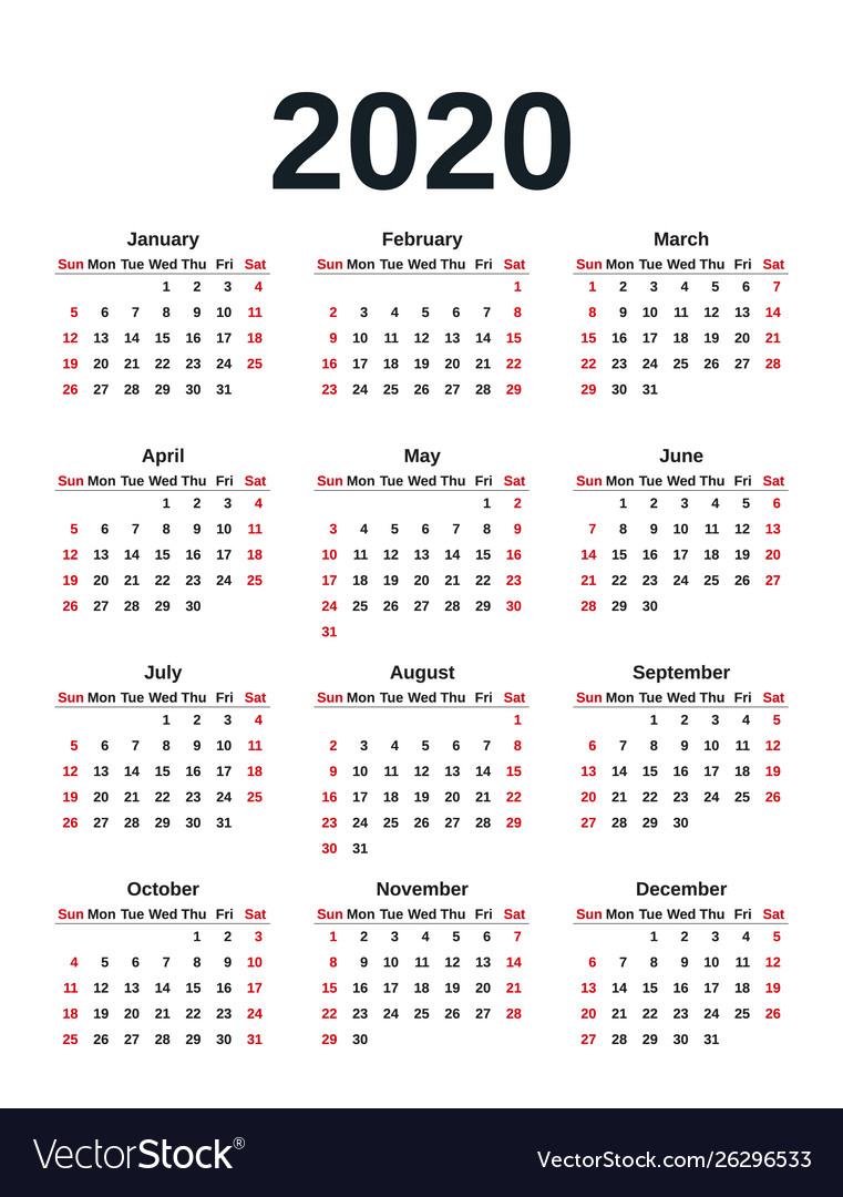 2020 Calendar Year Template Planner