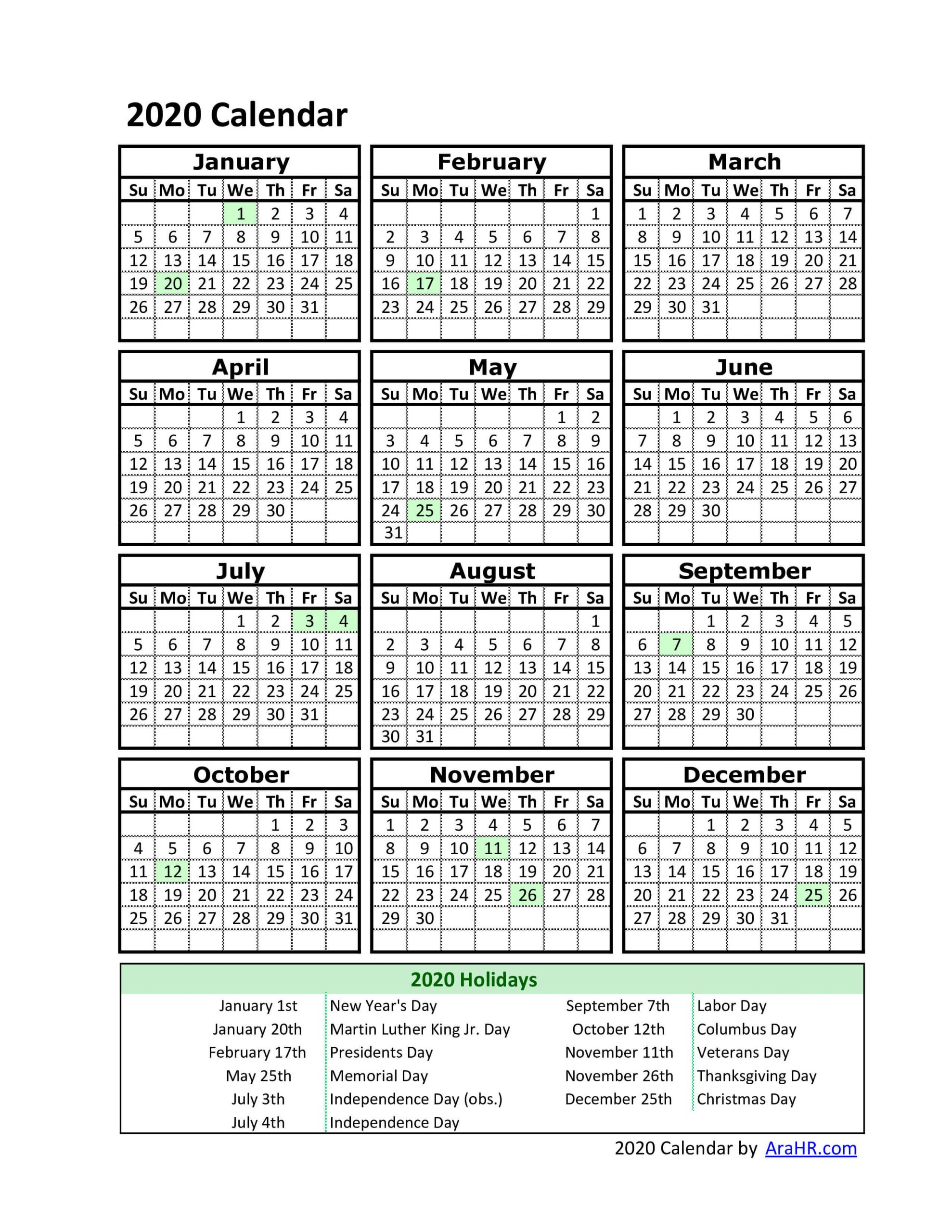 2020 Calendar - Yearly - Monthly - Free - Printable