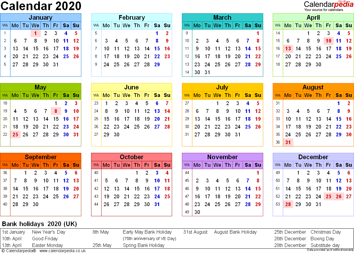 2020 Calendar Yearly - Togo.wpart.co