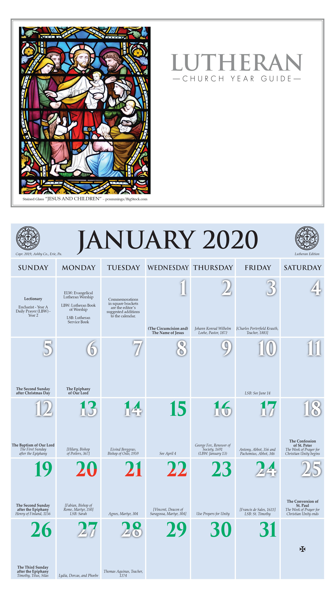 2020 Church Year Calendar