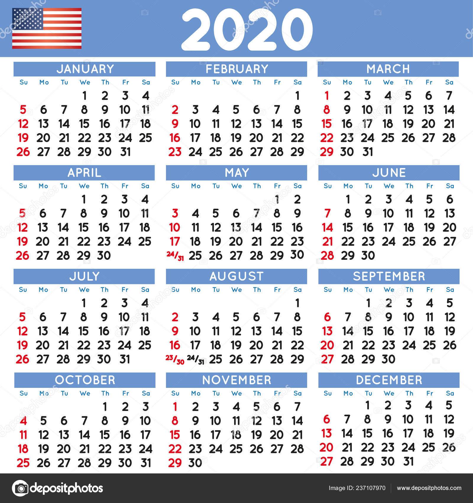 2020 Году Элегантный Квадрат Календарь Английский Сша 2020
