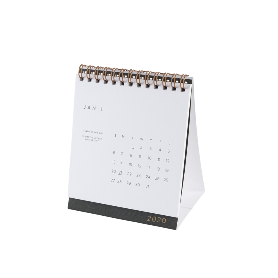 2020 Desk Calendar -Charcoal Grey