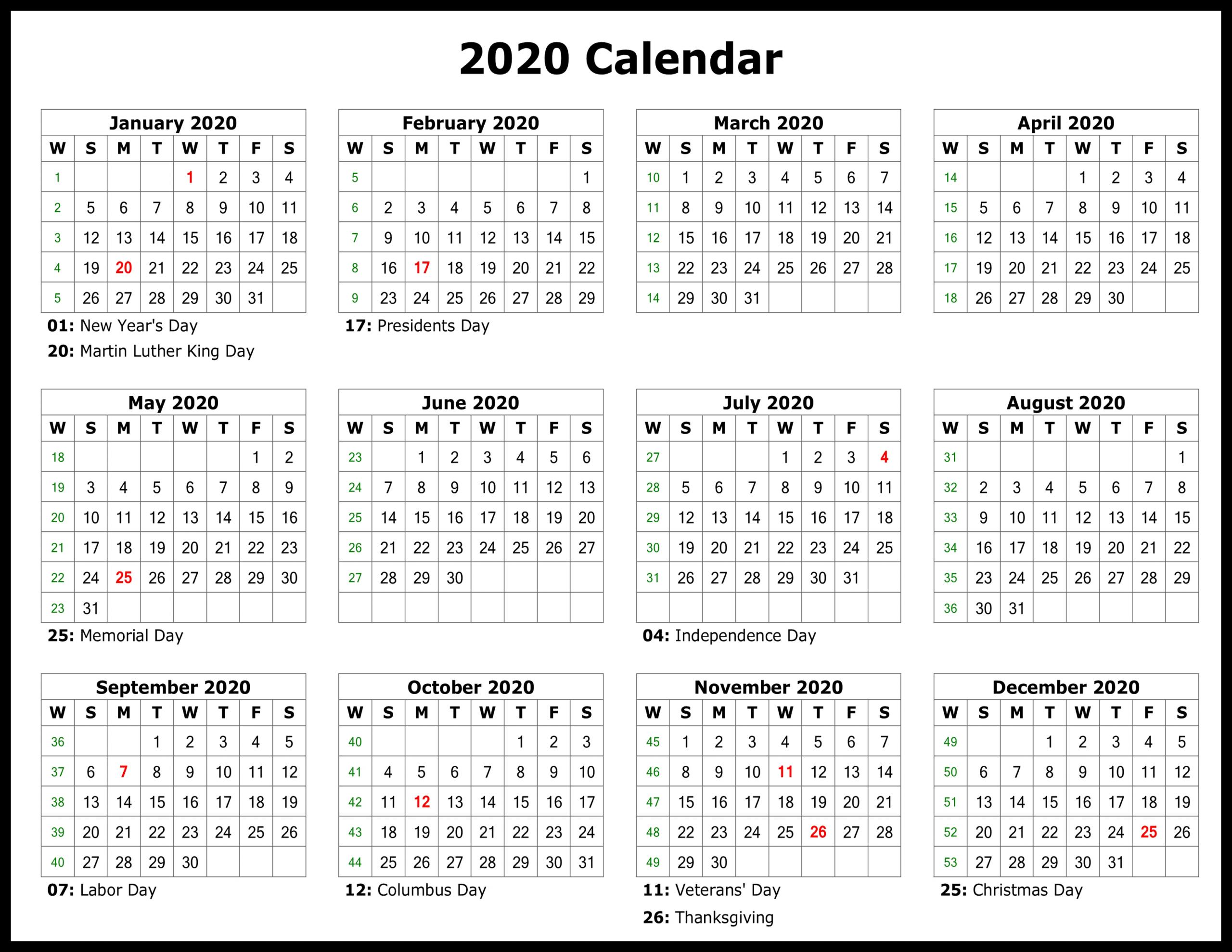 2020 Editable Calendar - Togo.wpart.co