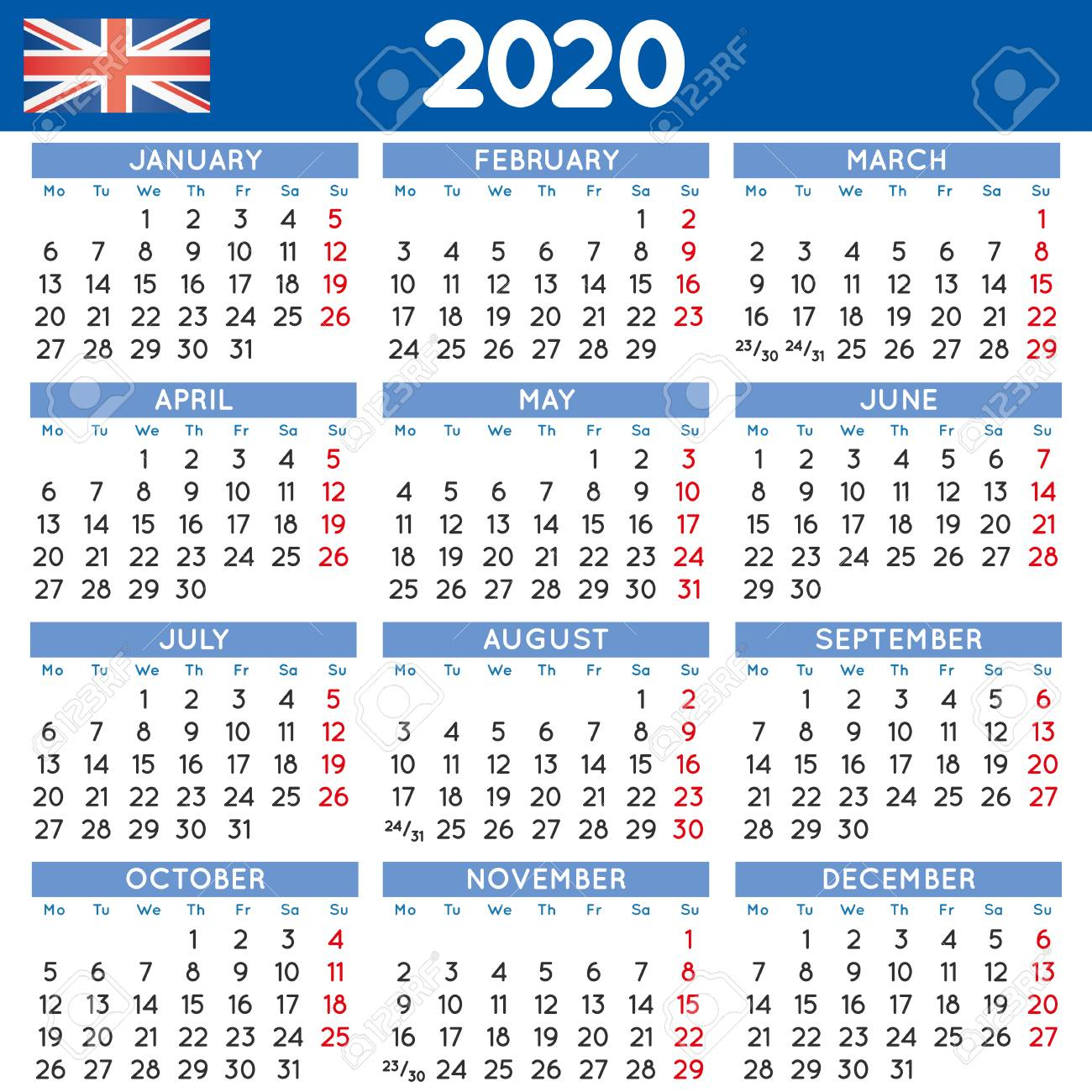 2020 Elegant Squared Calendar English Uk. Year 2020 Calendar
