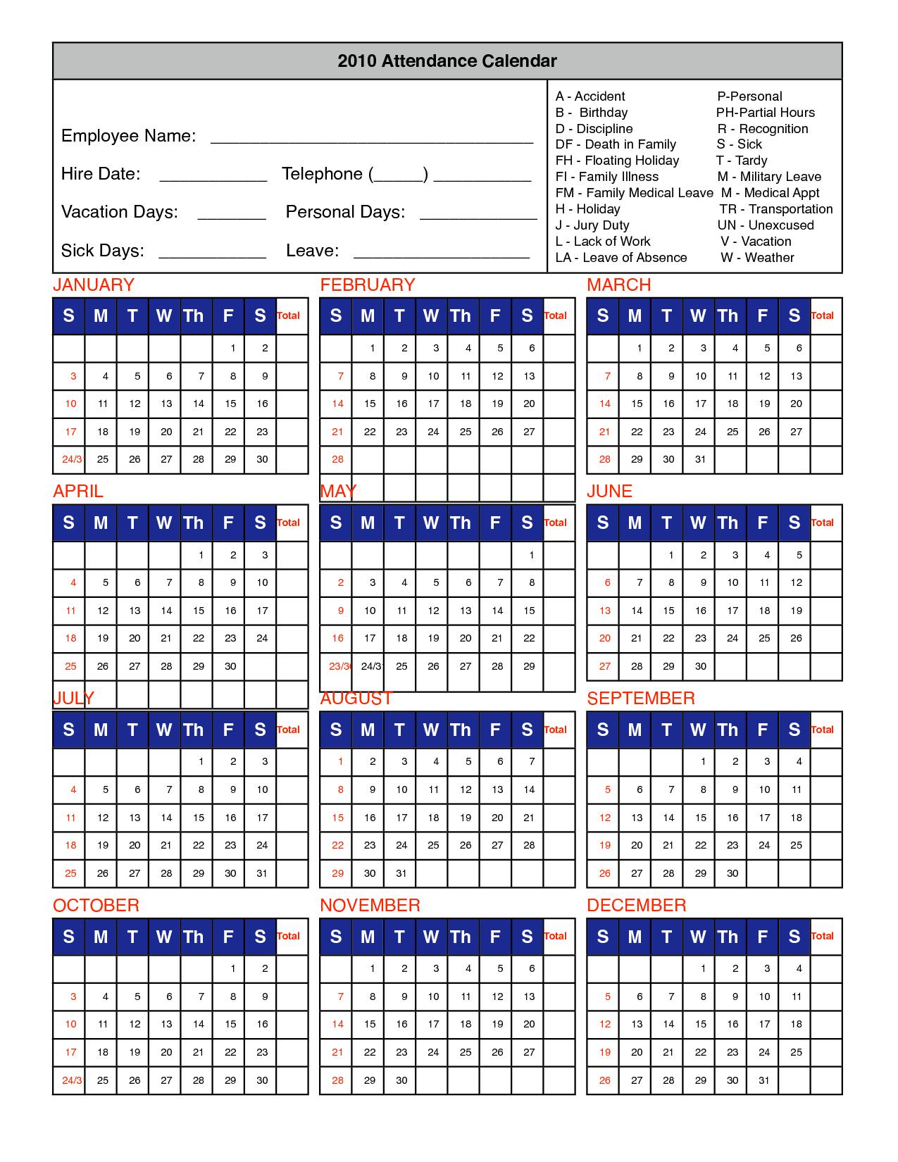 2020 Employee Attendance Calendar Printable - Teke.wpart.co