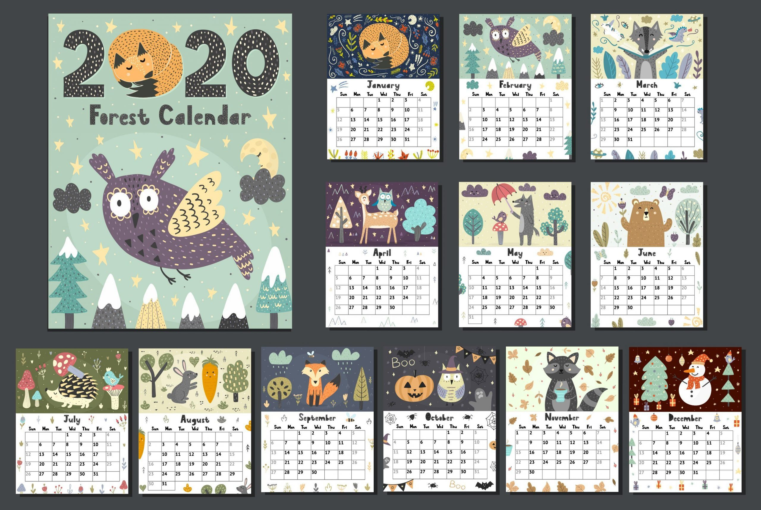 2020 Forest Calendar Template , #sponsored, #product