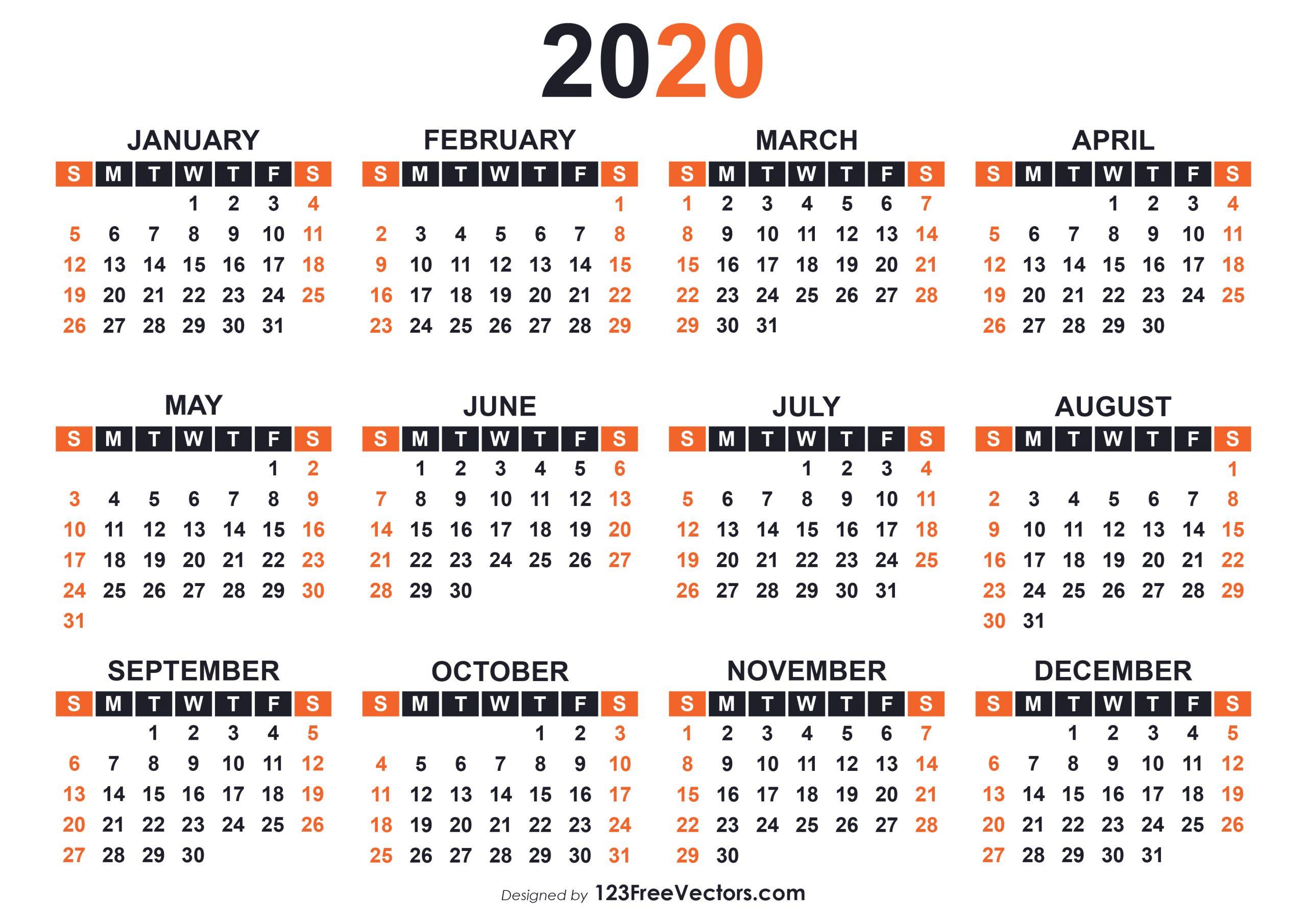 2020 Free Printable Calendar Templates