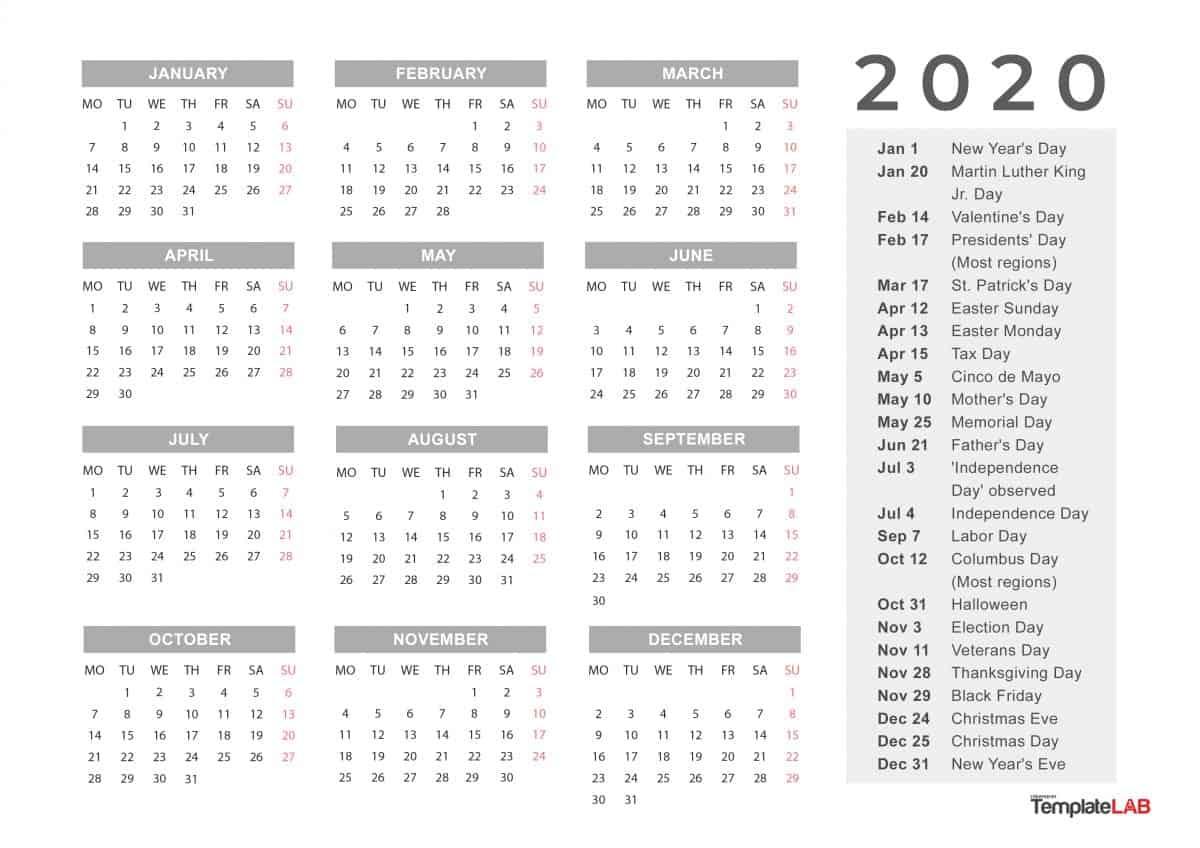 2020 Holiday Calendar Printable   Calendar Printable Free