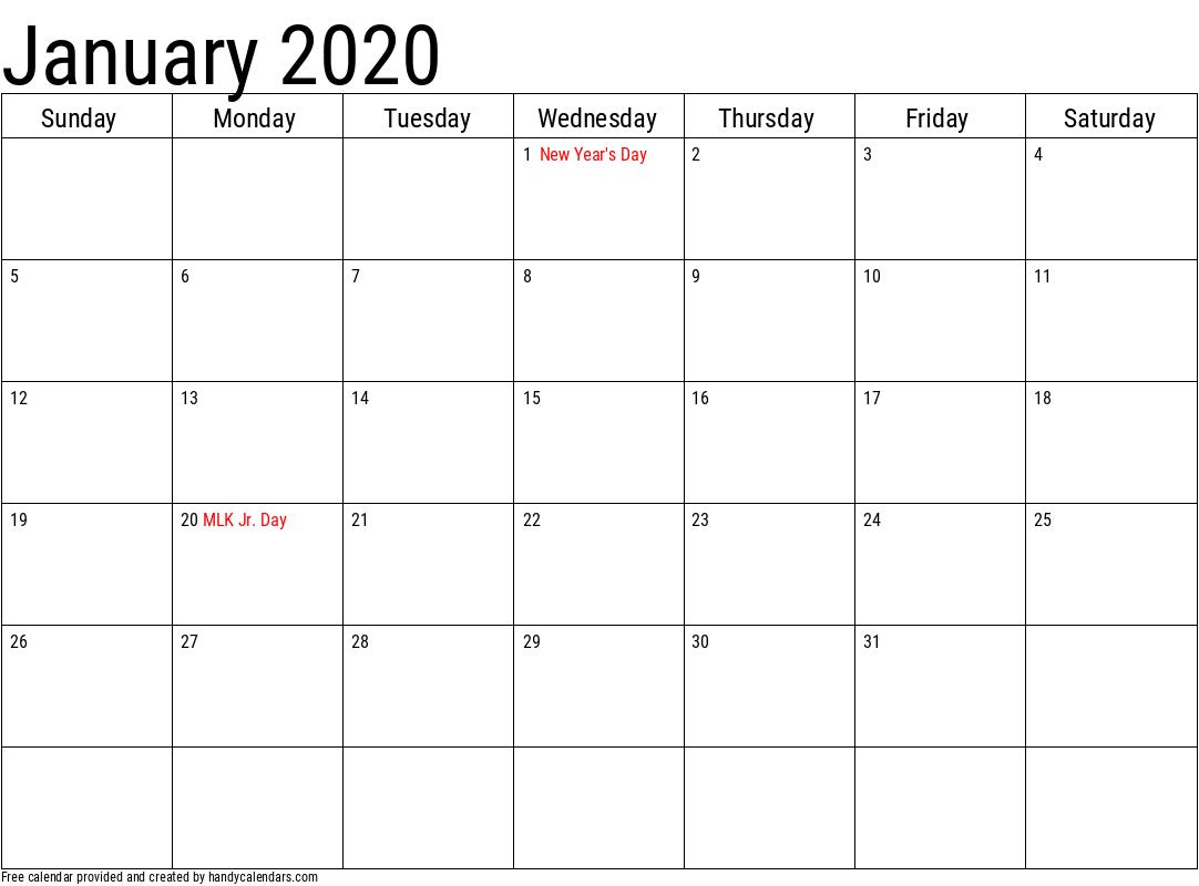 2020 January Calendars - Handy Calendars