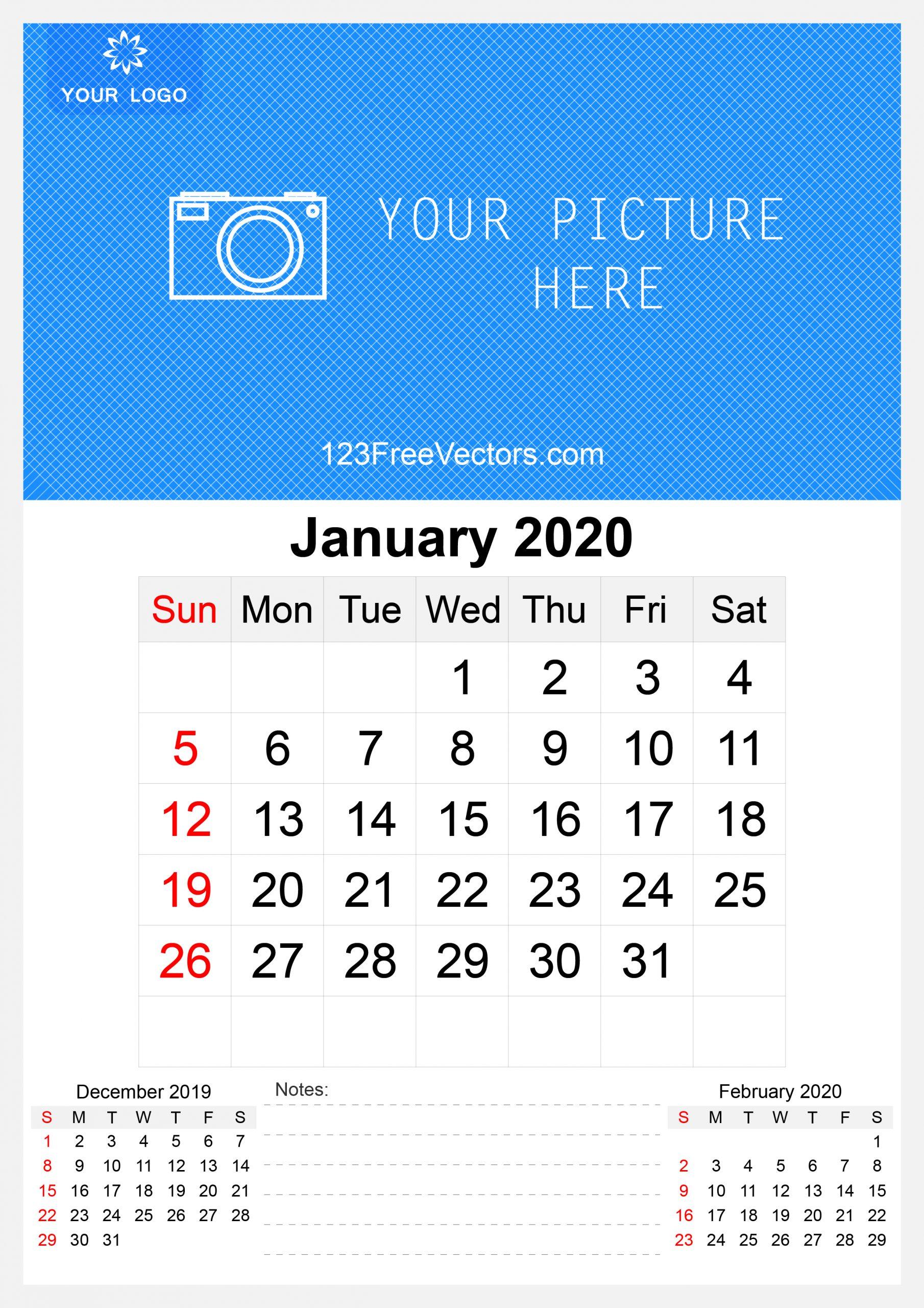2020 January Wall Calendar Template Free