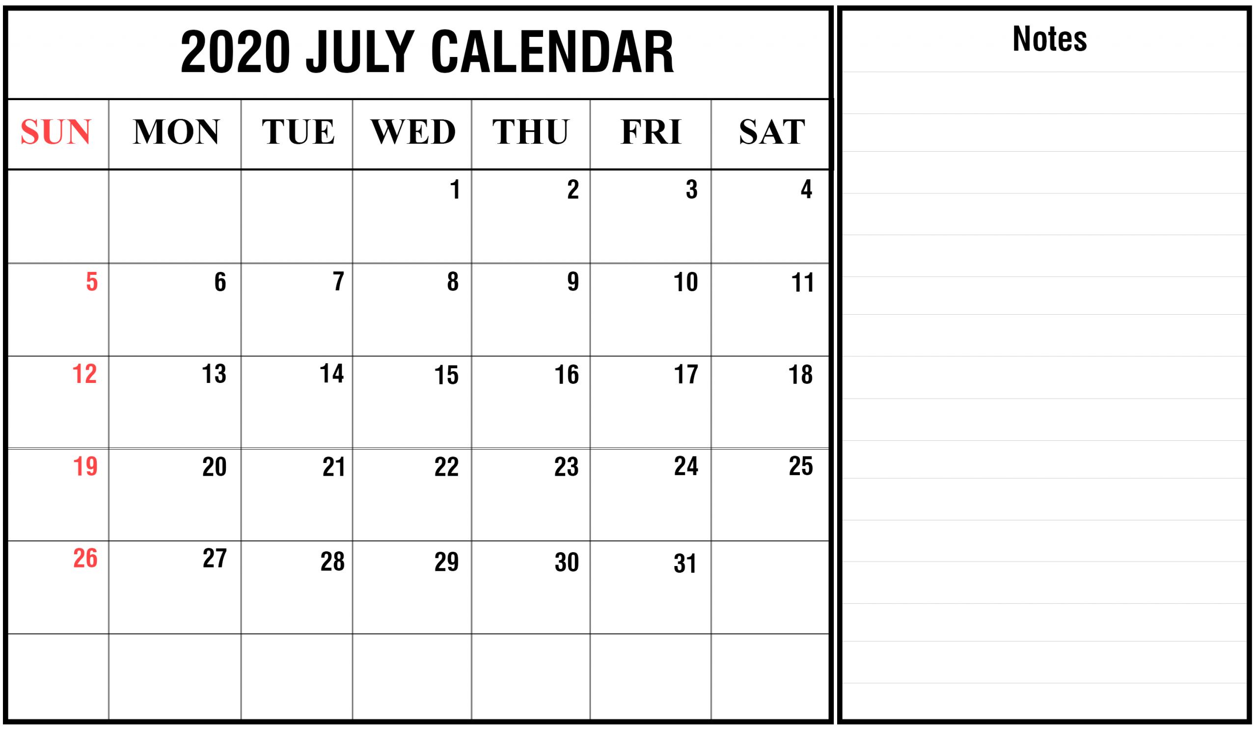 2020 July Calendar – Free Printable Template Download