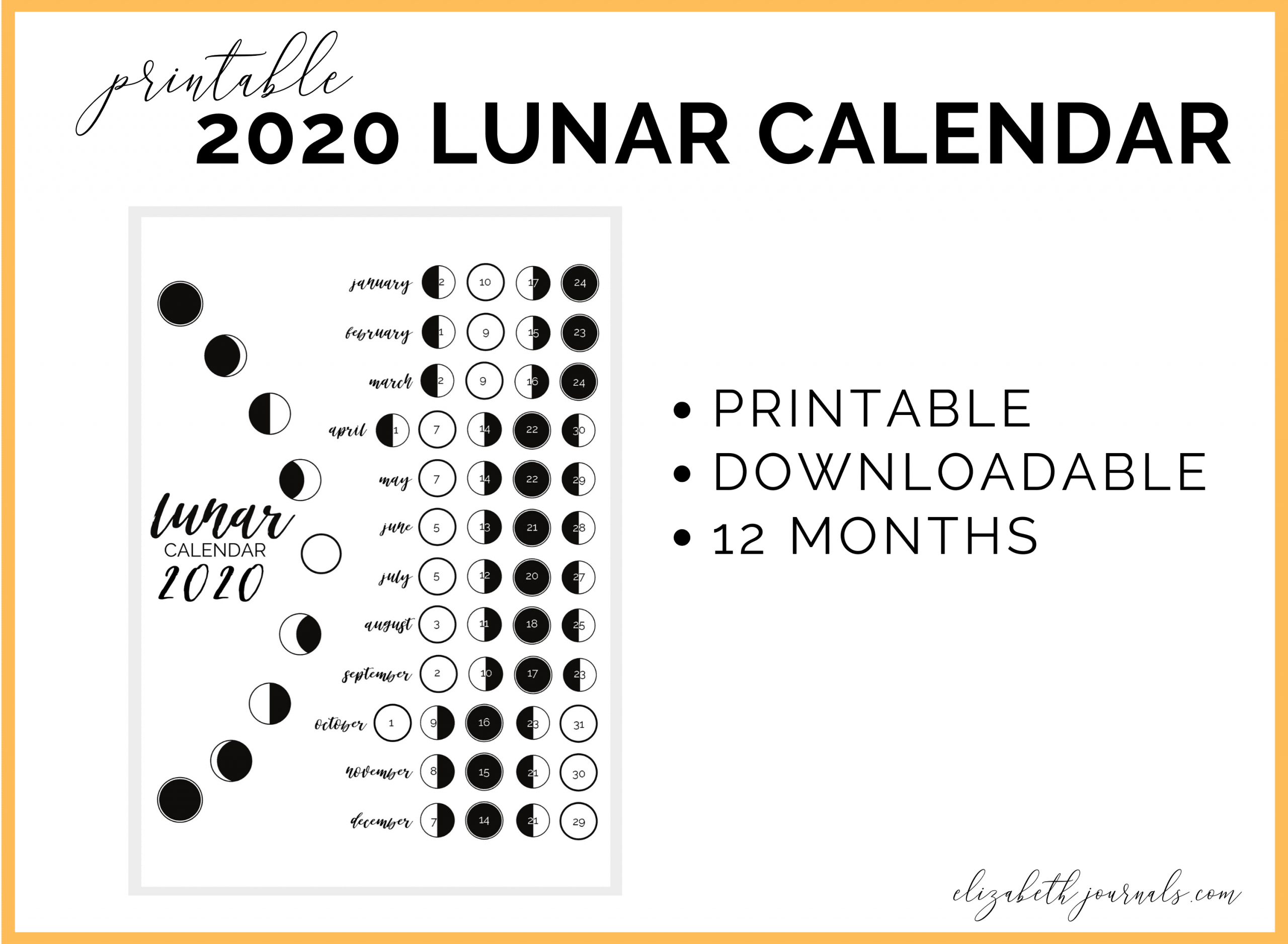 2020 Lunar Calendar Bullet Journal Printable