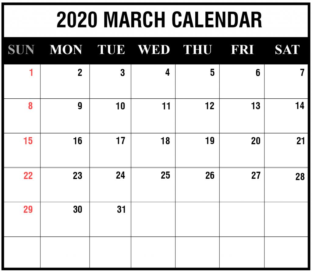 2020 March Calendar Printable Editable Template Blank 3