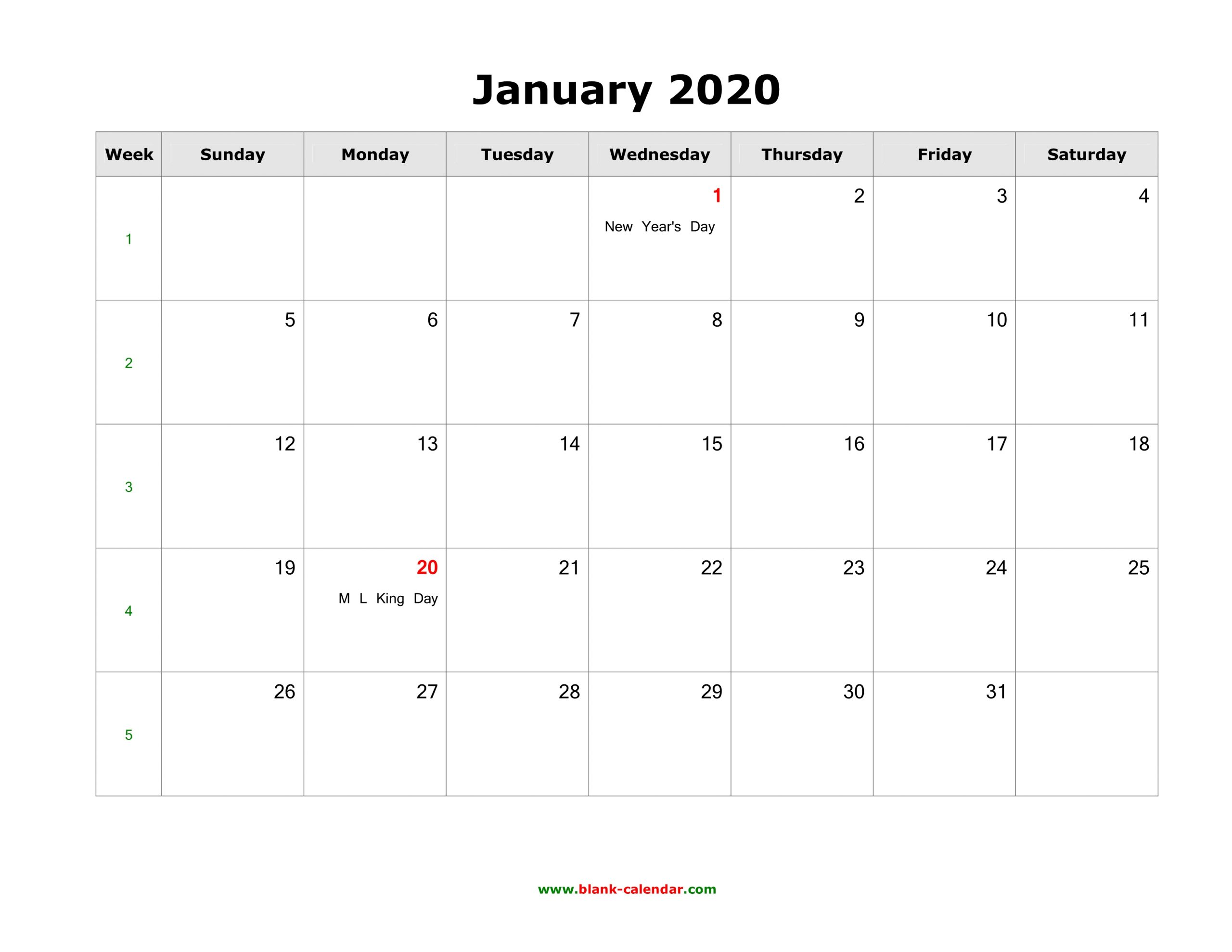 2020 Monthly Calendar Printable With Holidays - Togo.wpart.co