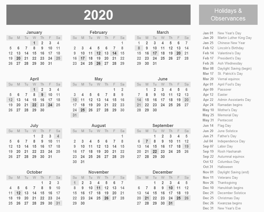 2020 Monthly Calendar Template Landscape   Monthly Calendar