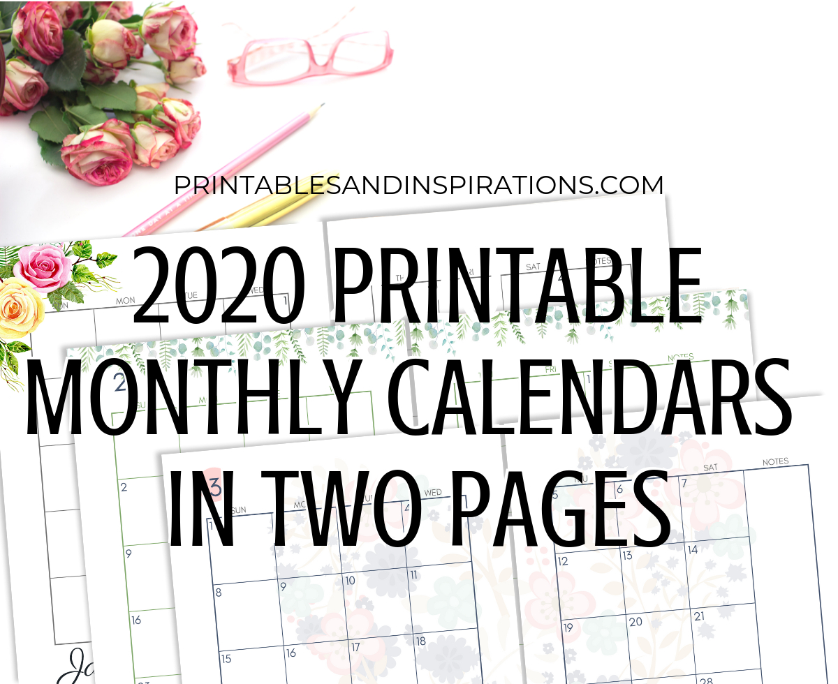 2020 Monthly Calendar Two Page Spread – Free Printable
