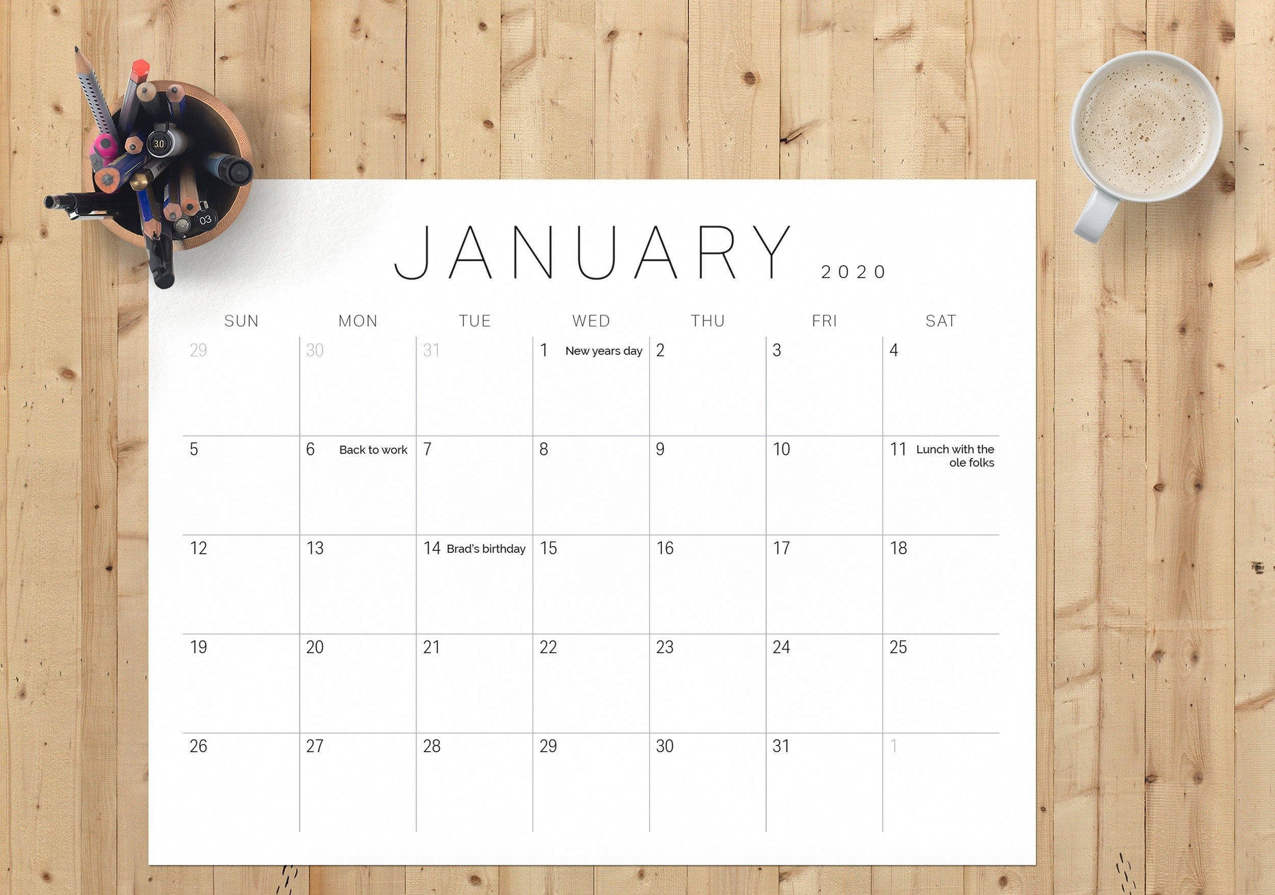 2020 Monthly Printable And Editable Calendar (Pdf) | A4 And