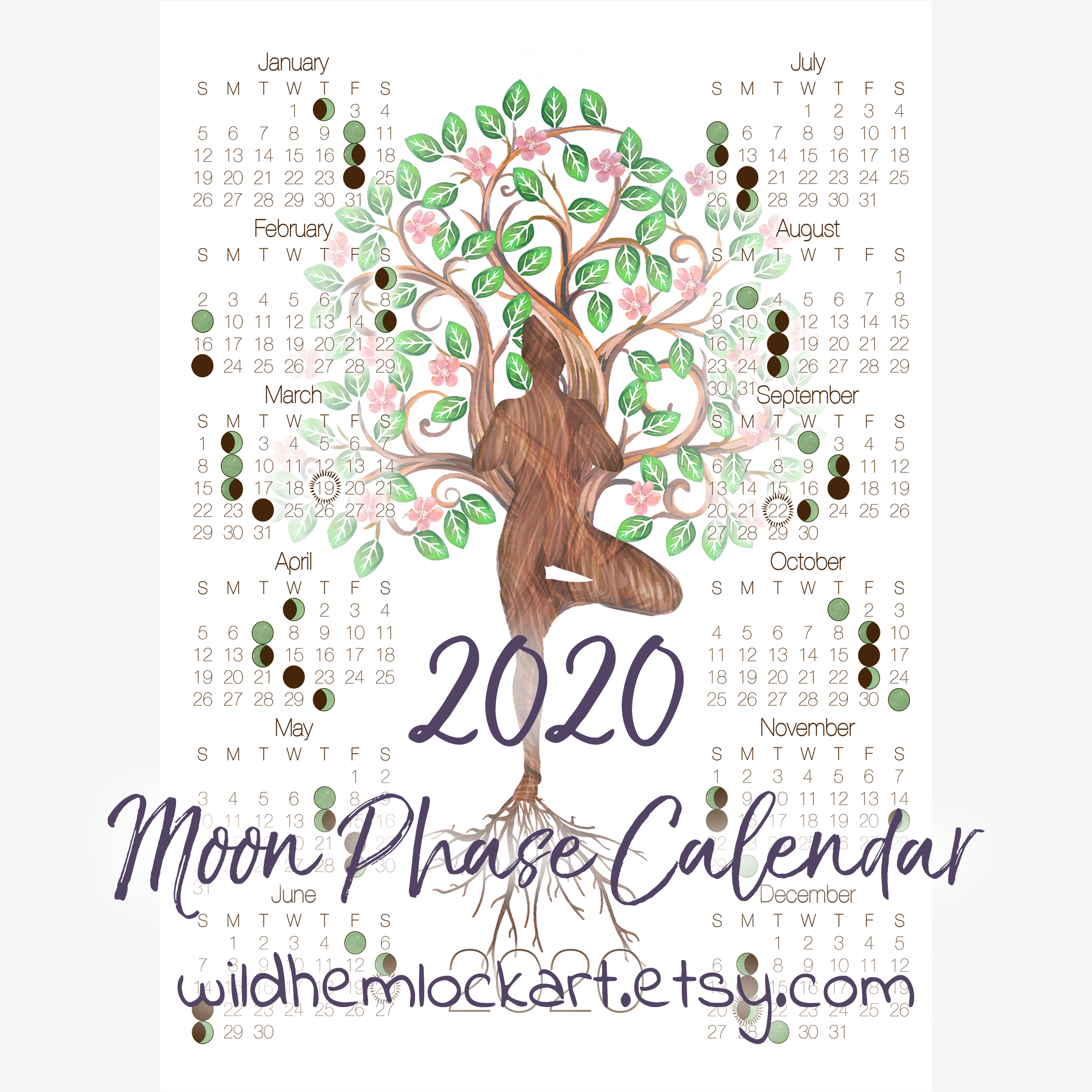 2020 Moon Phase Calendar - Lunar Calender With Tree Of Life