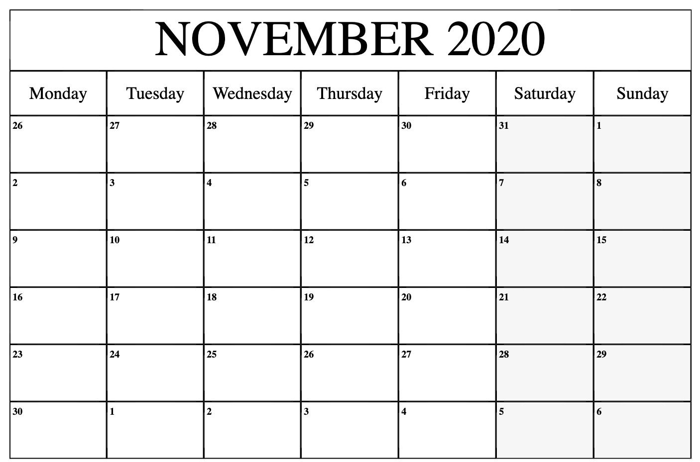 2020 November Calendar | November Calendar, Calendar