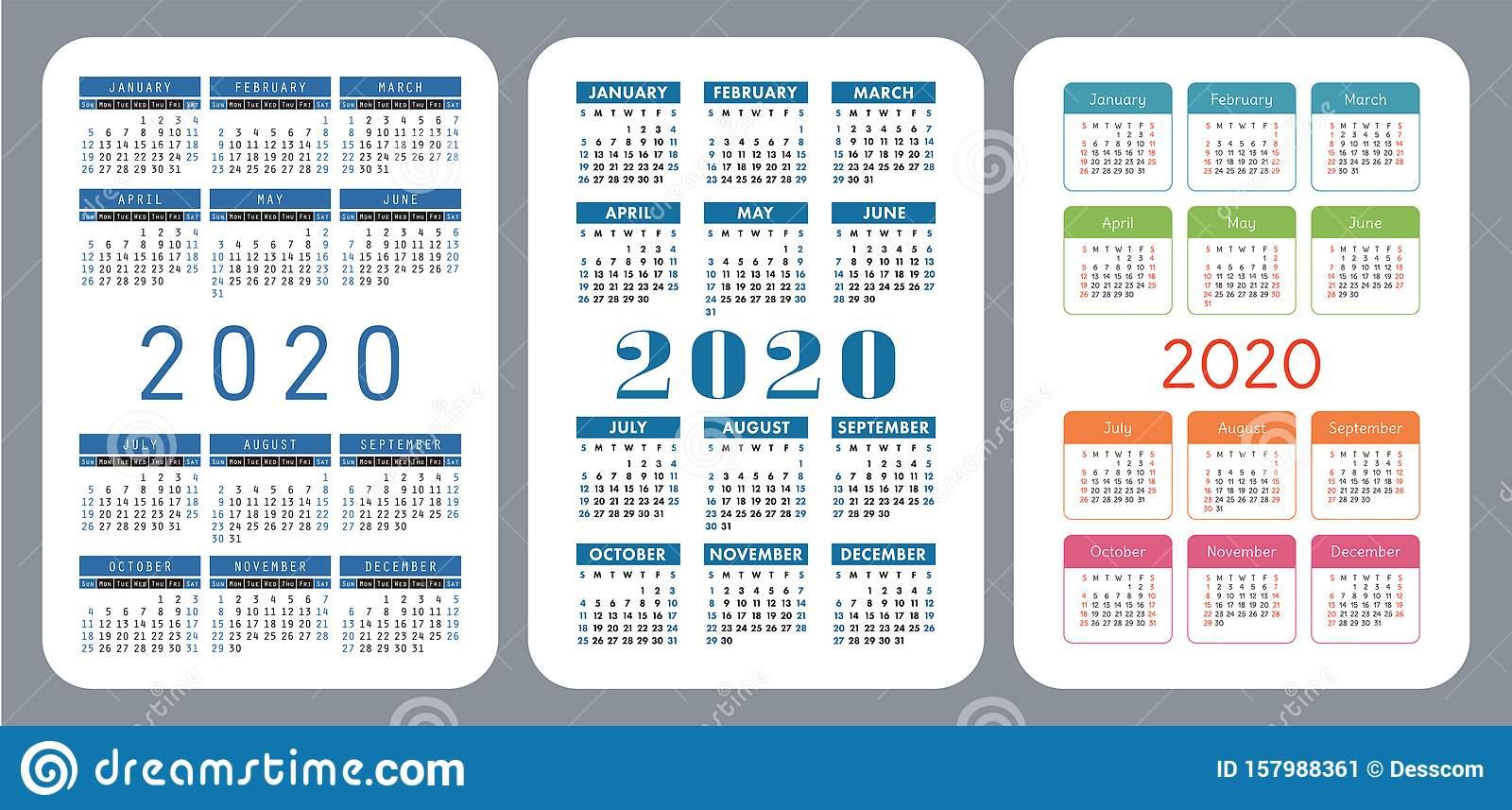 2020 Pocket Calendar Set. Vector Design Collection. Color