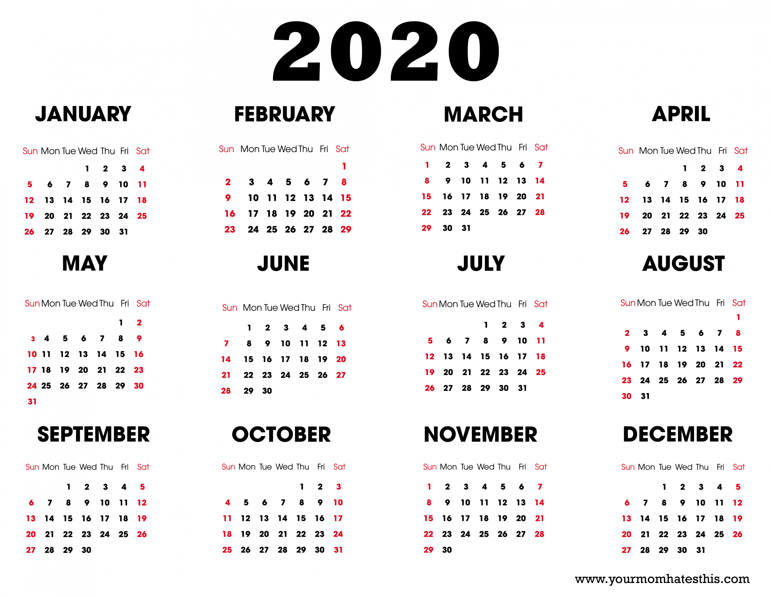 2020 Printable Calendar - Download Free Blank Templates -