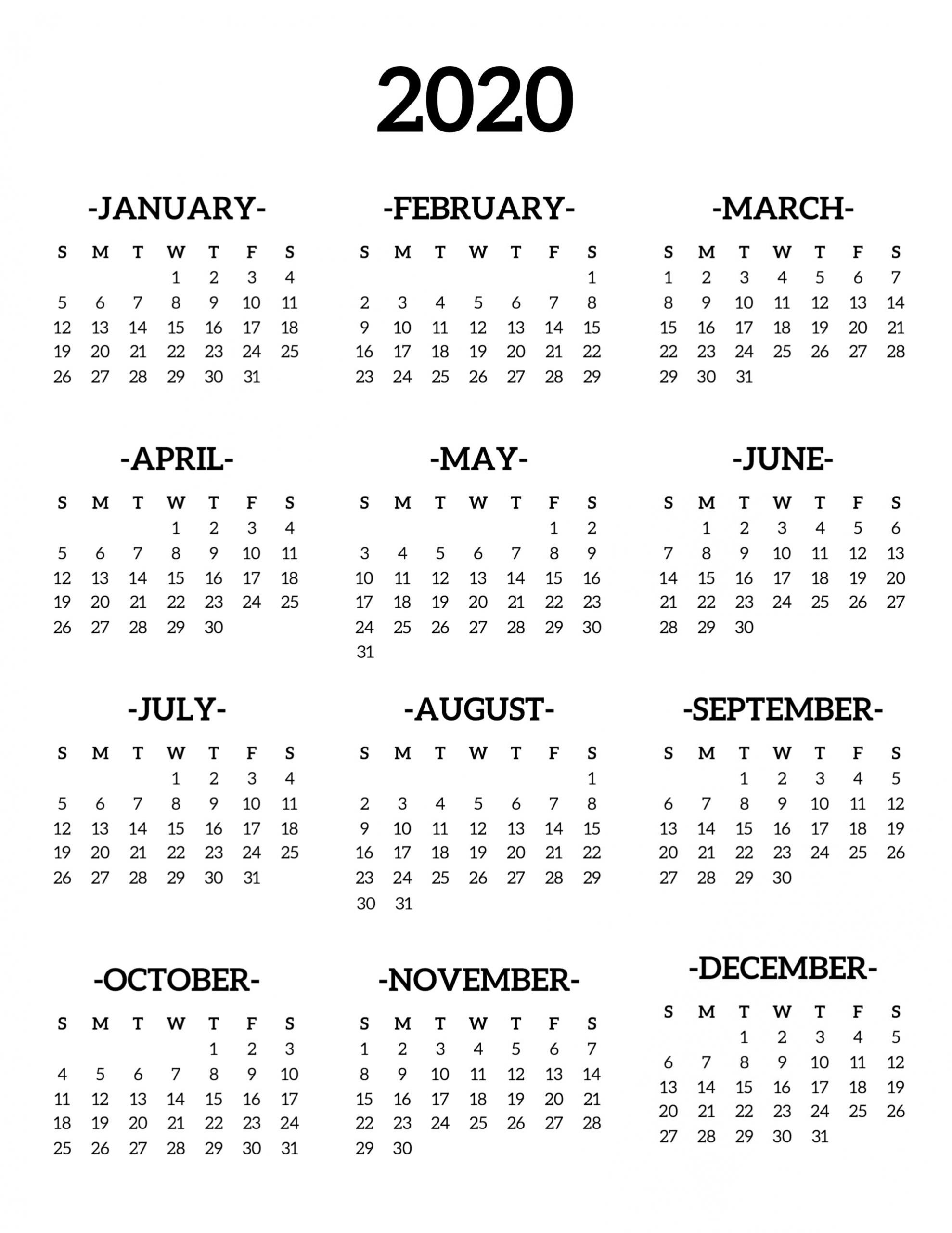 2020 Printable Calendar One Page | Calendar, Print Calendar