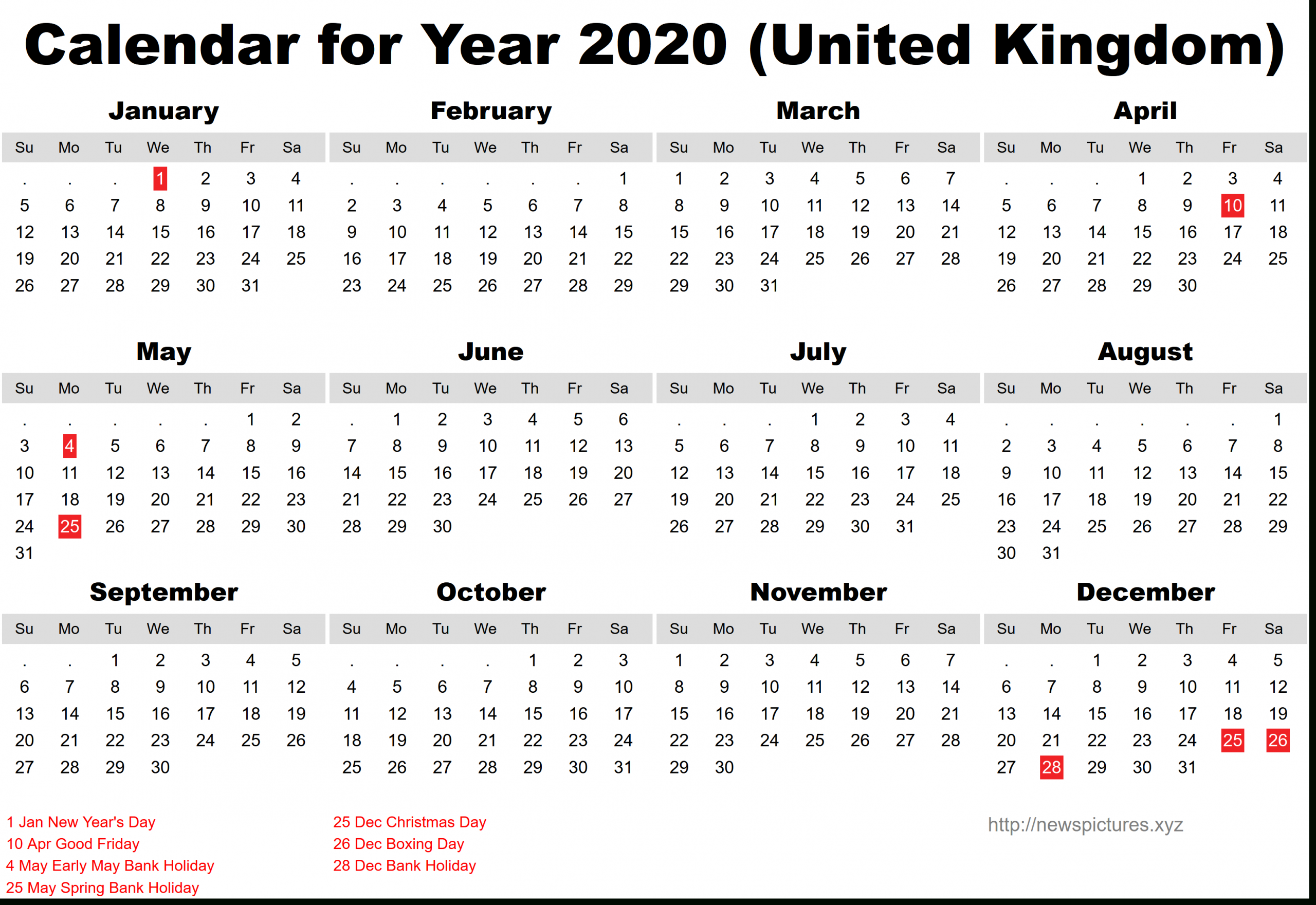 2020 Printable Calendar With United Kingdom Public Holidays