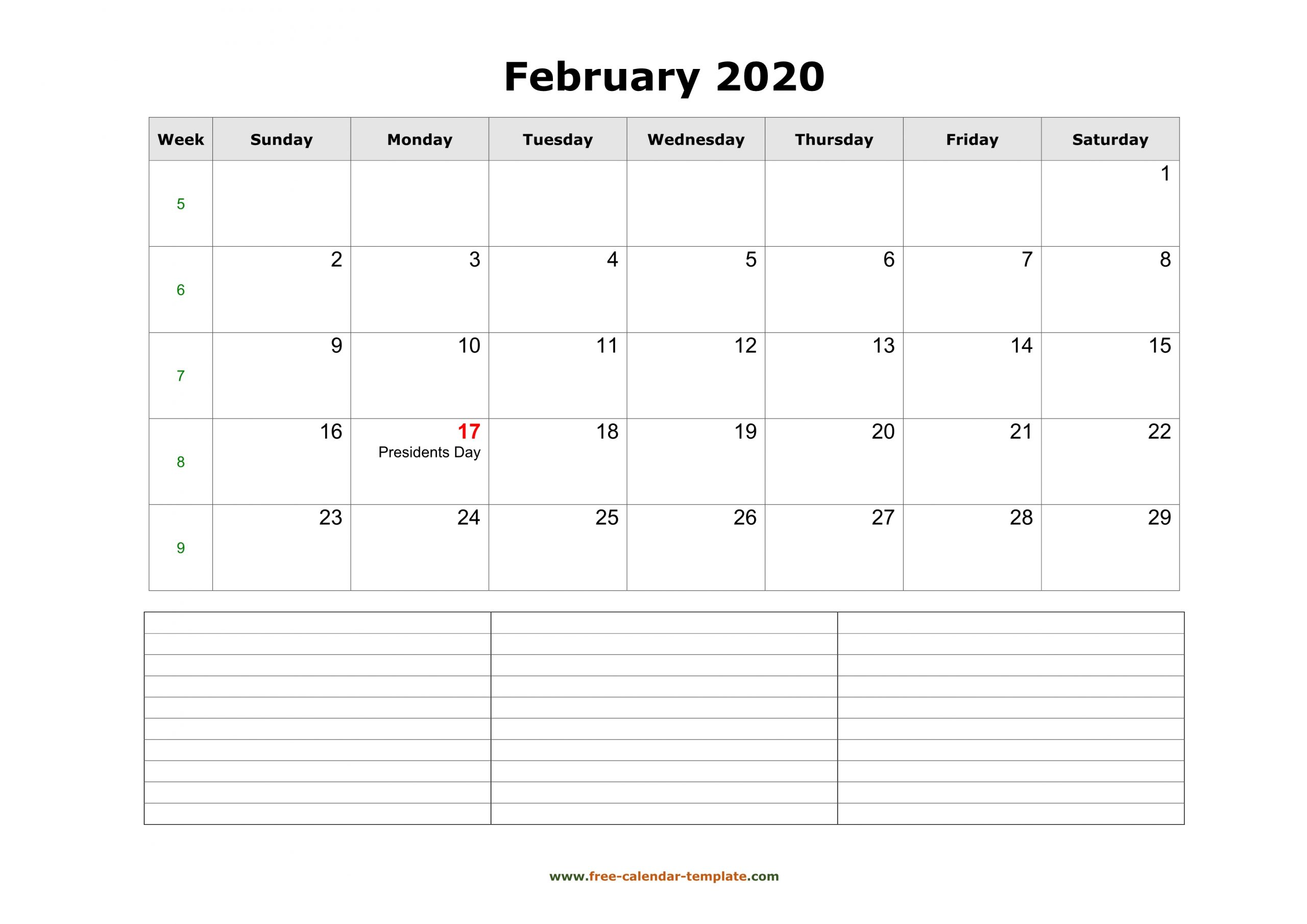 2020 Printable February Calendar With Space For Appointments