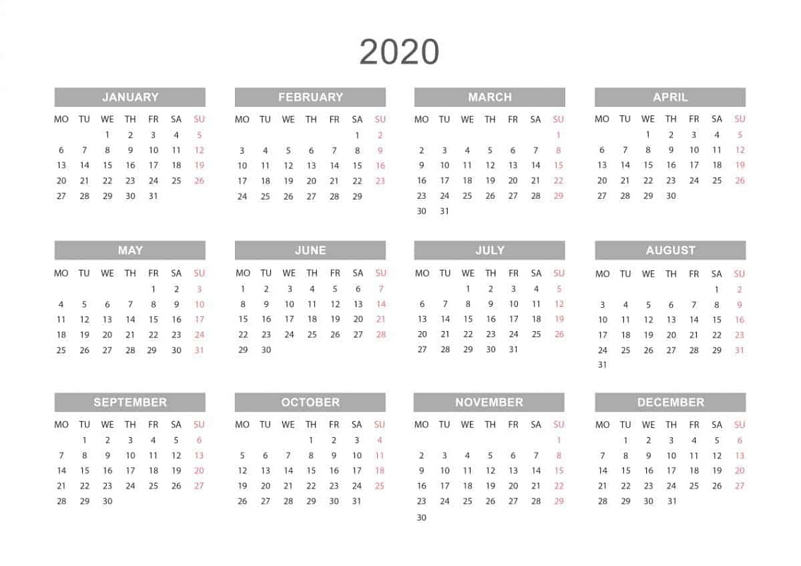 2020 Printable Yearly Calendar - Togo.wpart.co