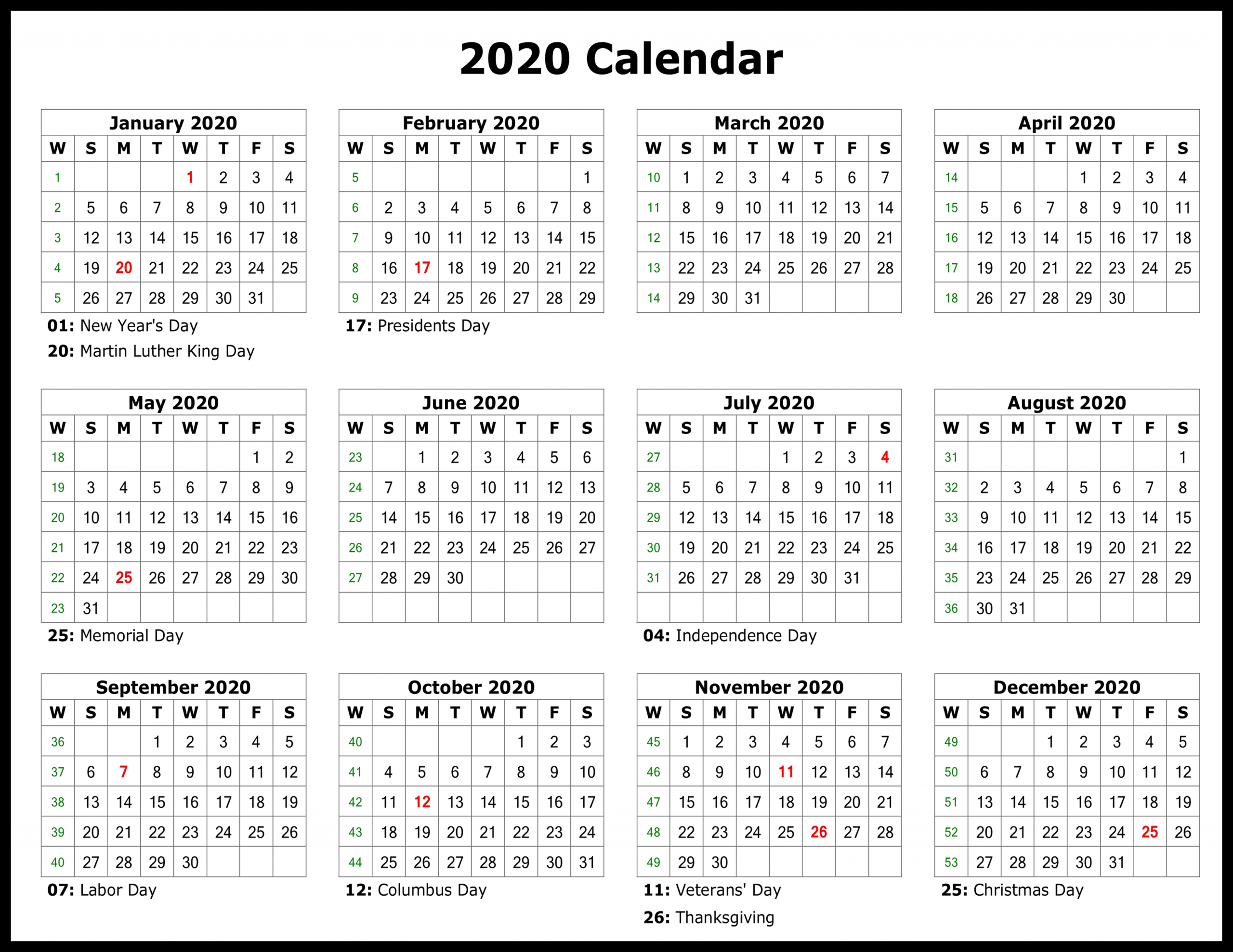 2020 Printable Yearly Calendar With Holidays - Back.tscoreks