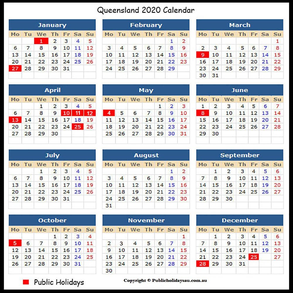 2020 Public Holidays Qld
