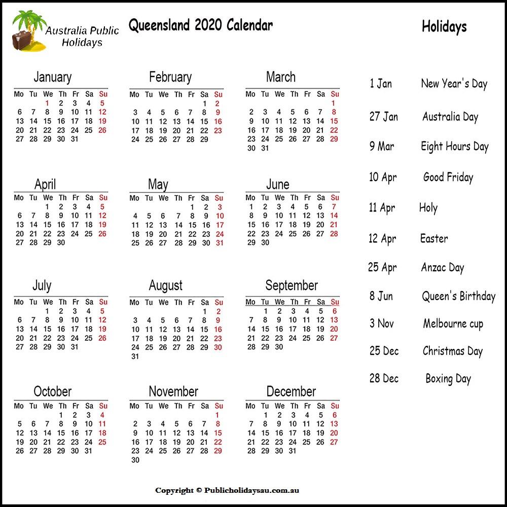 2020 Public Holidays Qld