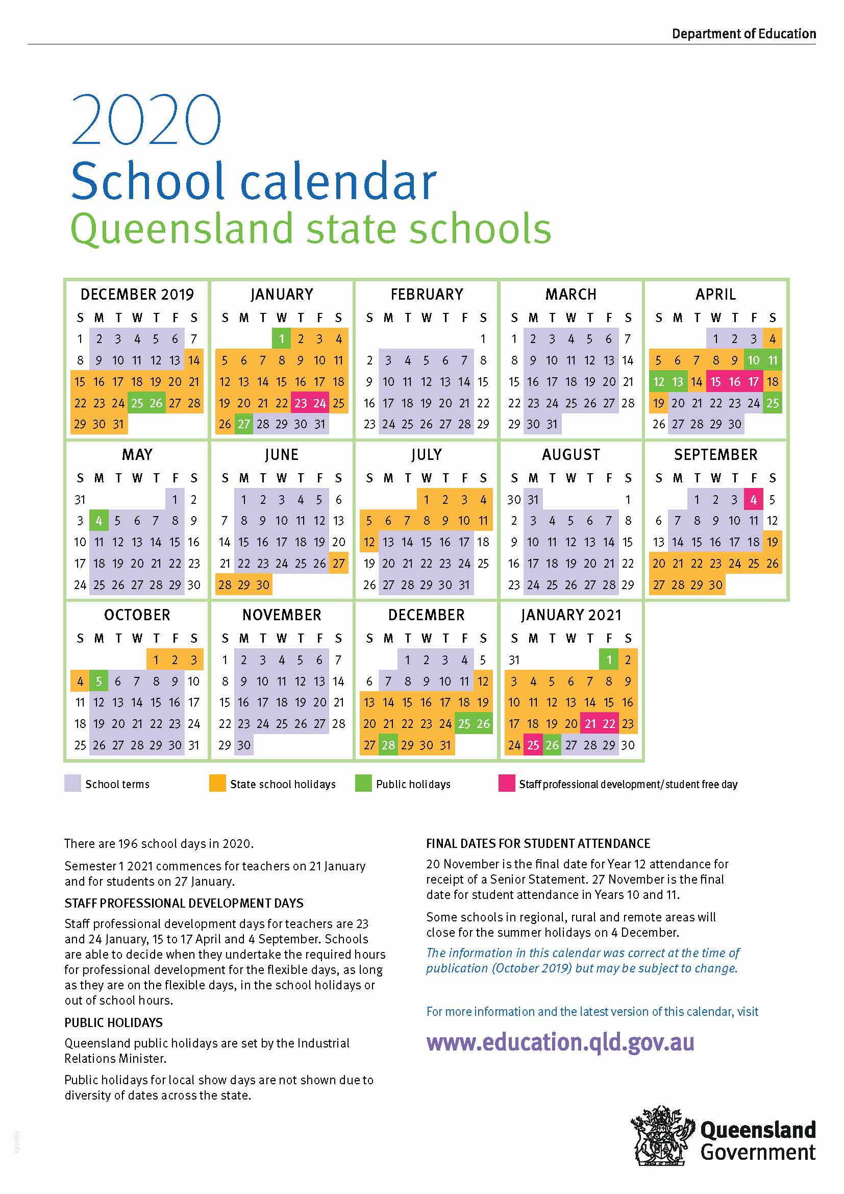 2020 Queensland State School Calendar
