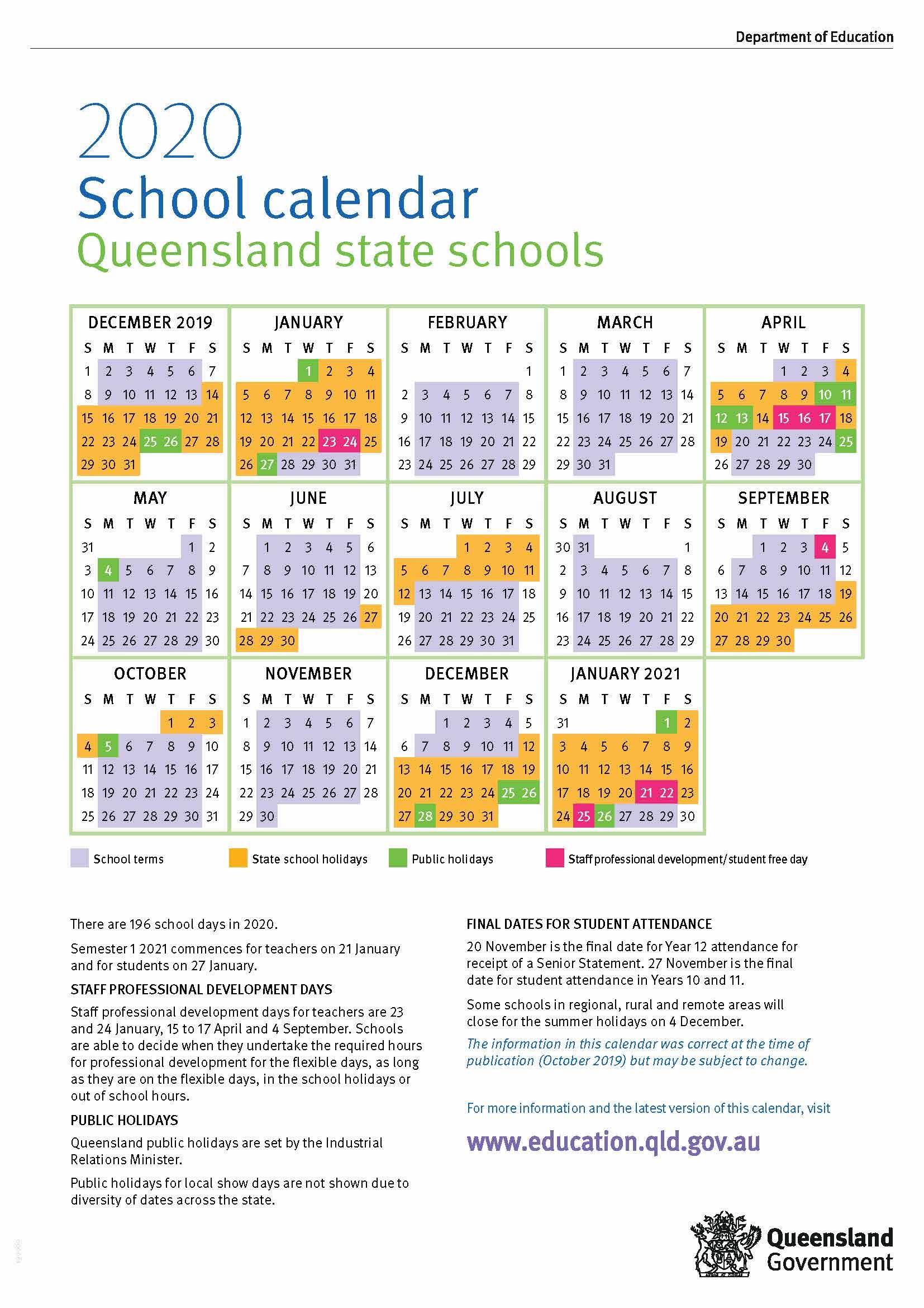 2020 Queensland State School Calendar