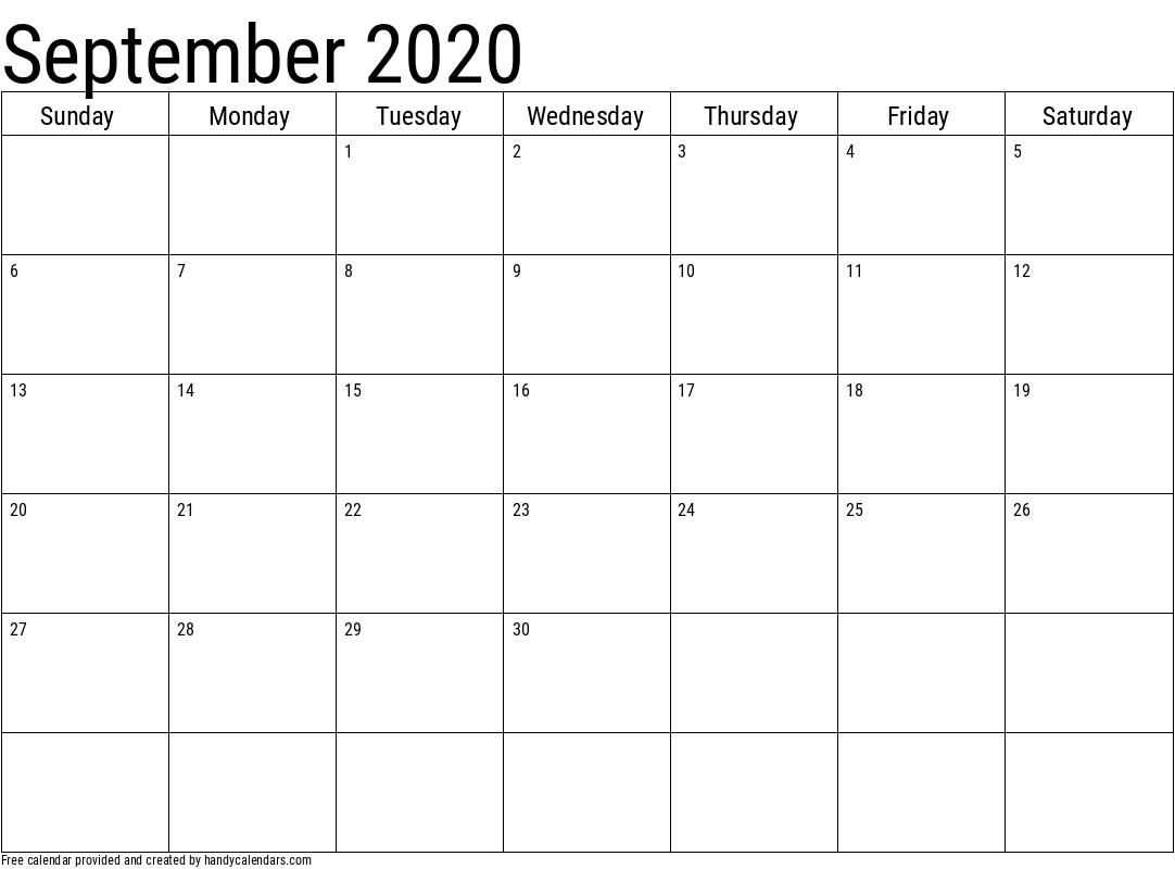 2020 September Calendars - Handy Calendars