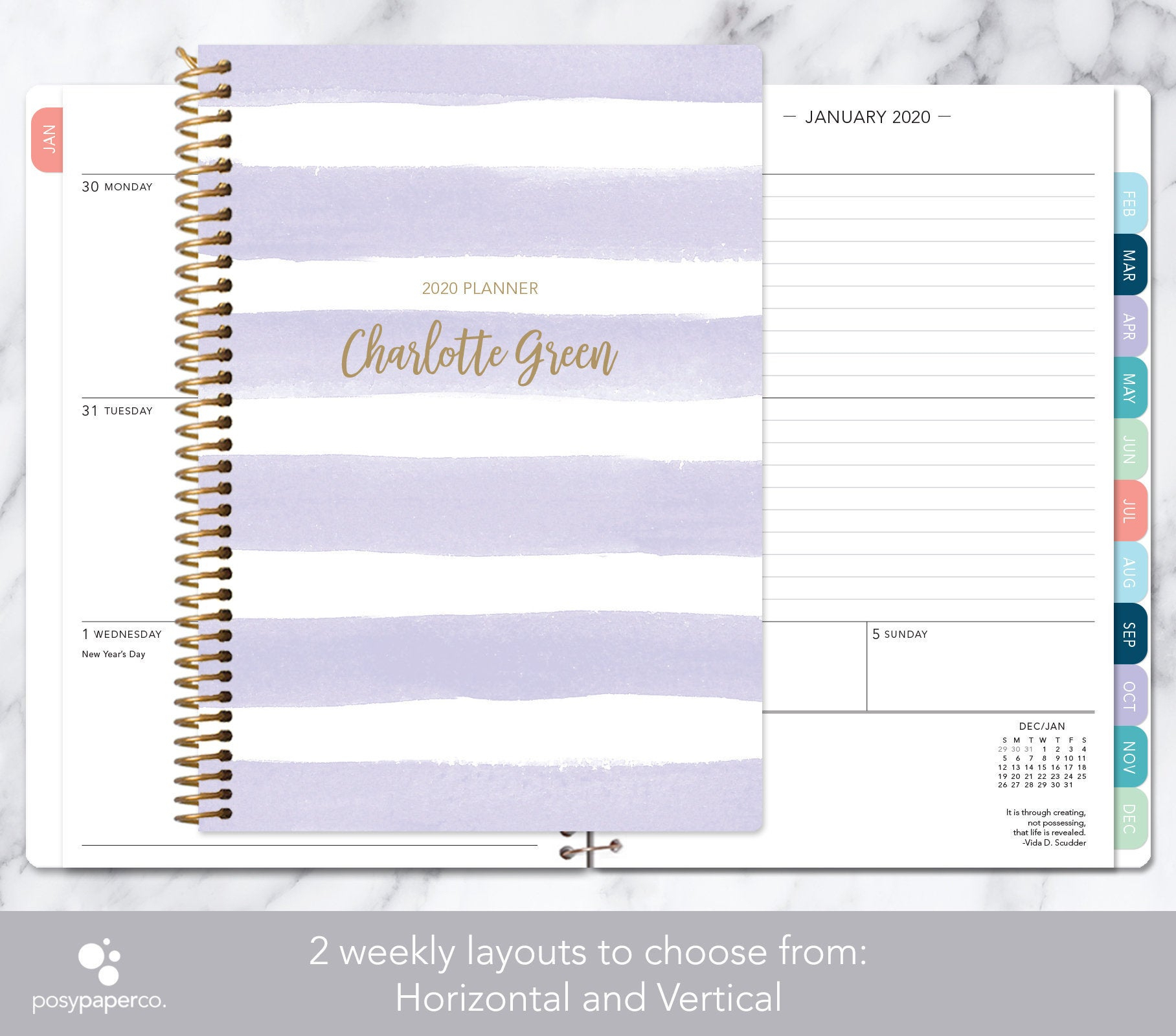 2020 Weekly Planner | 2020 2021 Calendar | Add Monthly Tabs