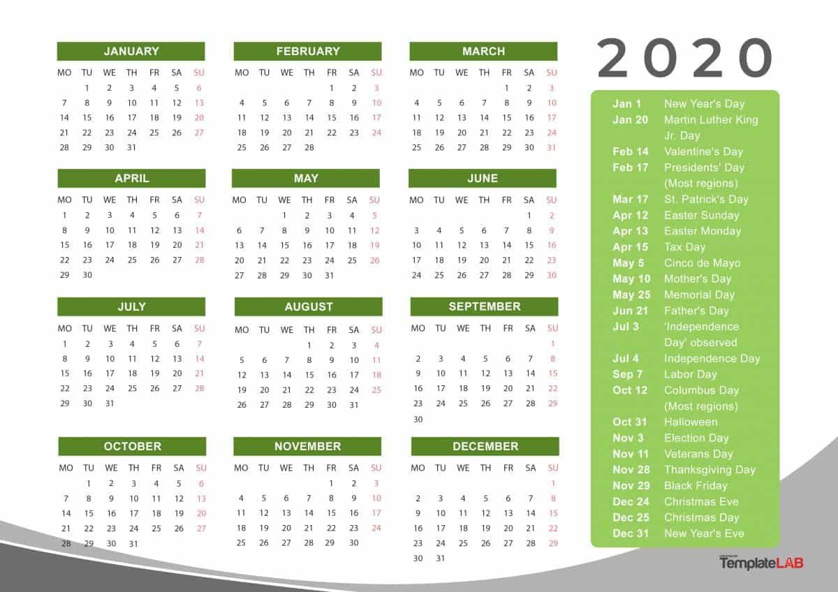 2020 Yearly Holidays Calendar | Printable Calendar Template