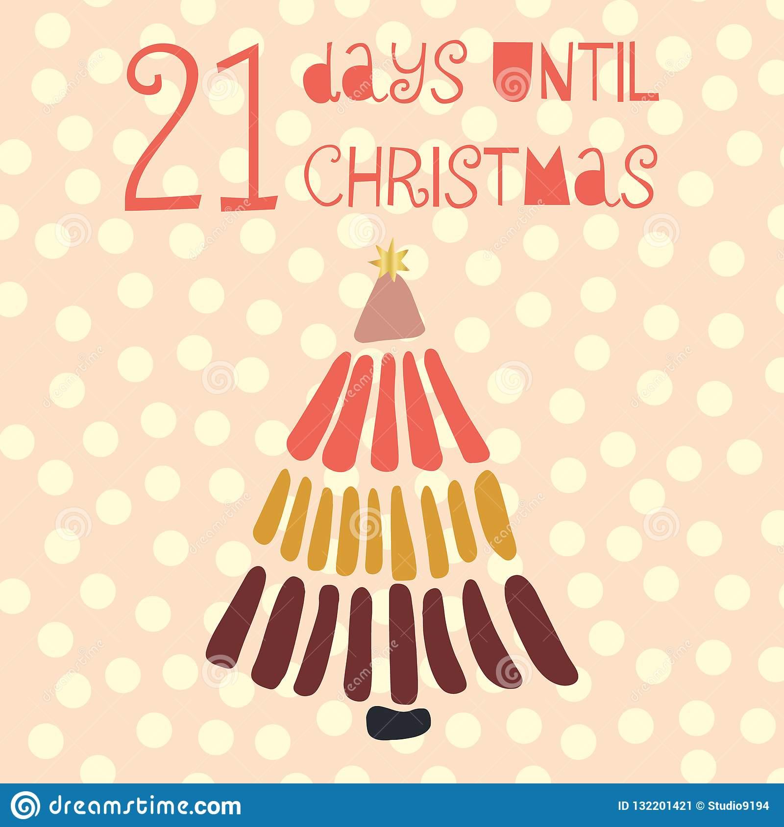 21 Days Until Christmas Vector Illustration. Christmas