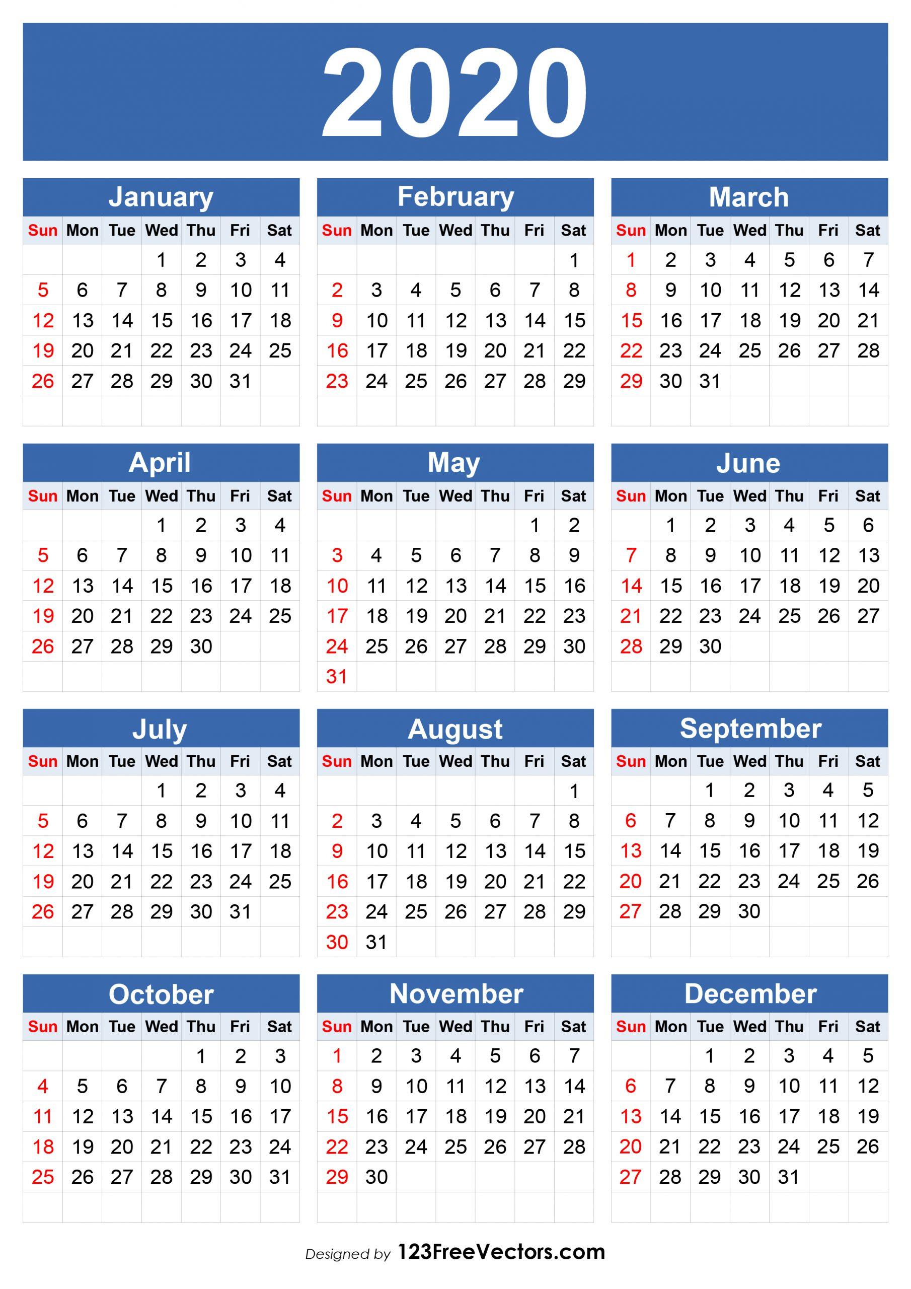210+ 2020 Calendar Vectors   Download Free Vector Art