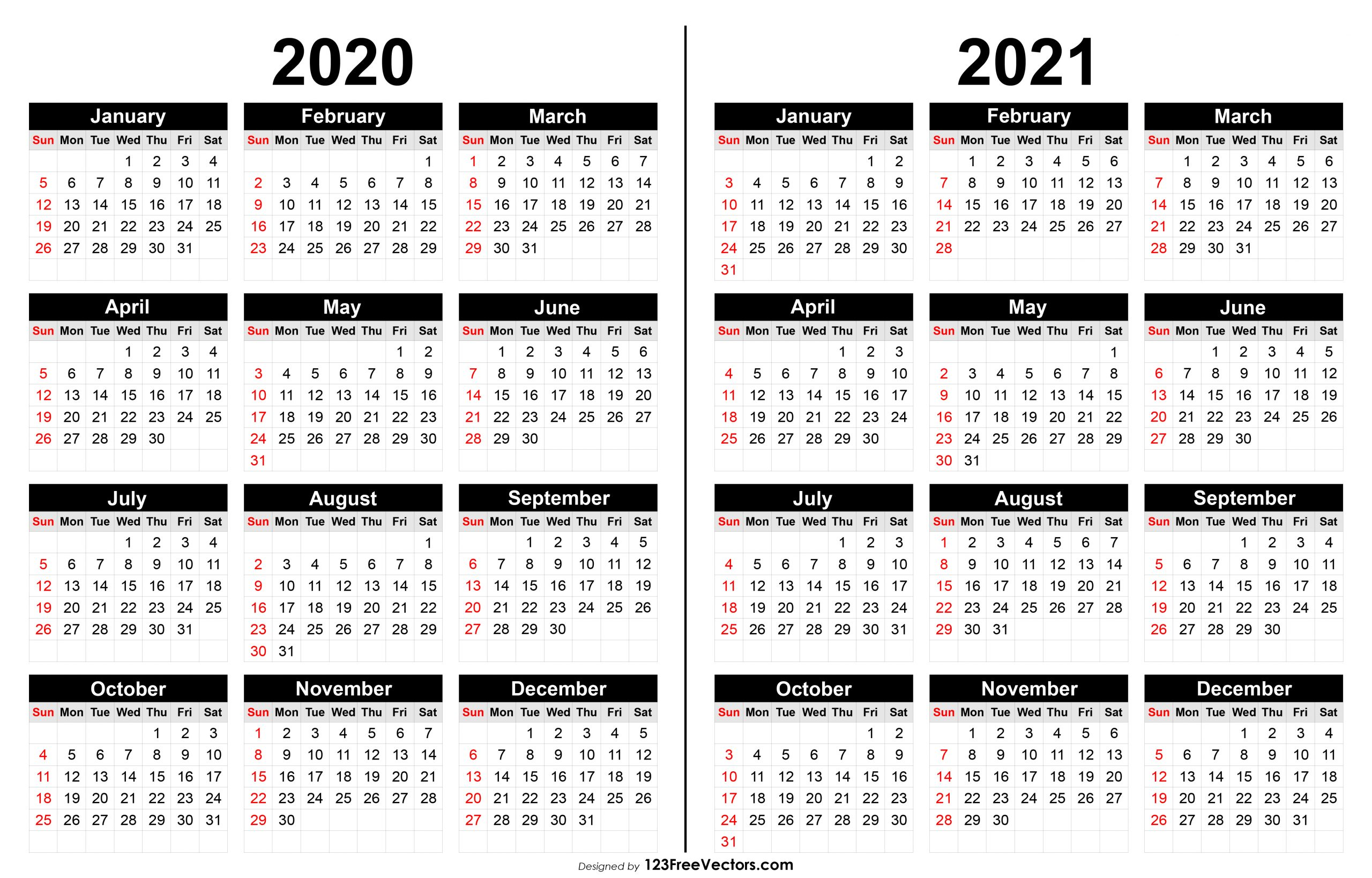 210+ 2020 Calendar Vectors | Download Free Vector Art