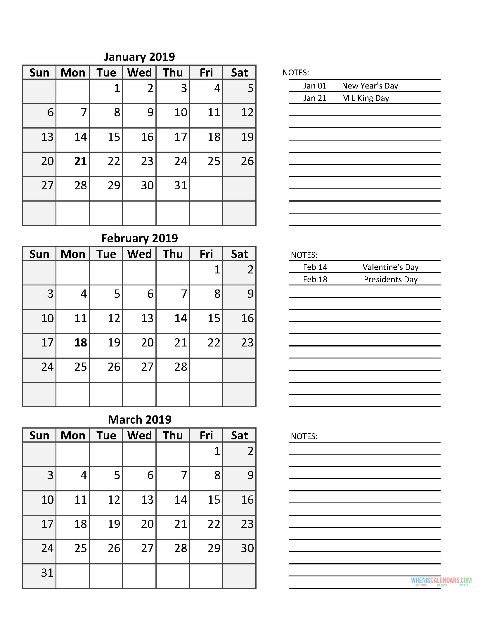 3 Month Calendar 2019 Quarterly Calendar First Quarter 2019