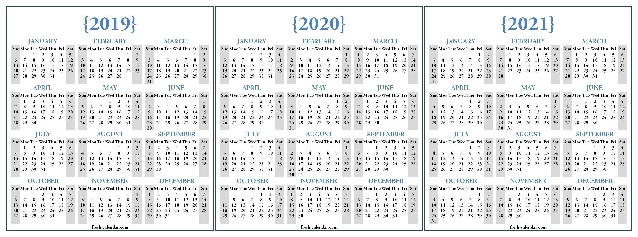 3 Year Calendars Printable - Togo.wpart.co