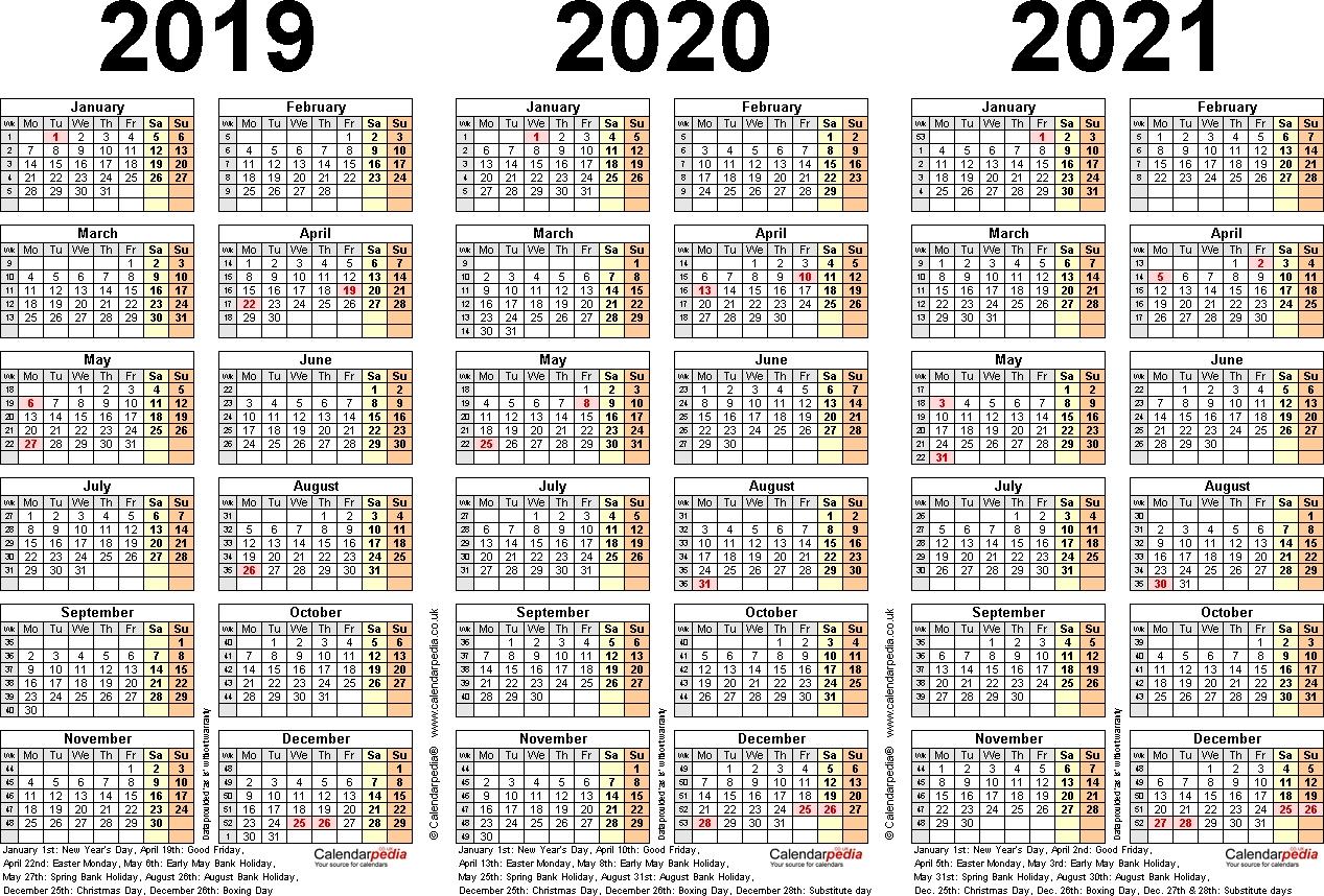 3 Year Printable Calendar 2019 2020 2021 - Calendar